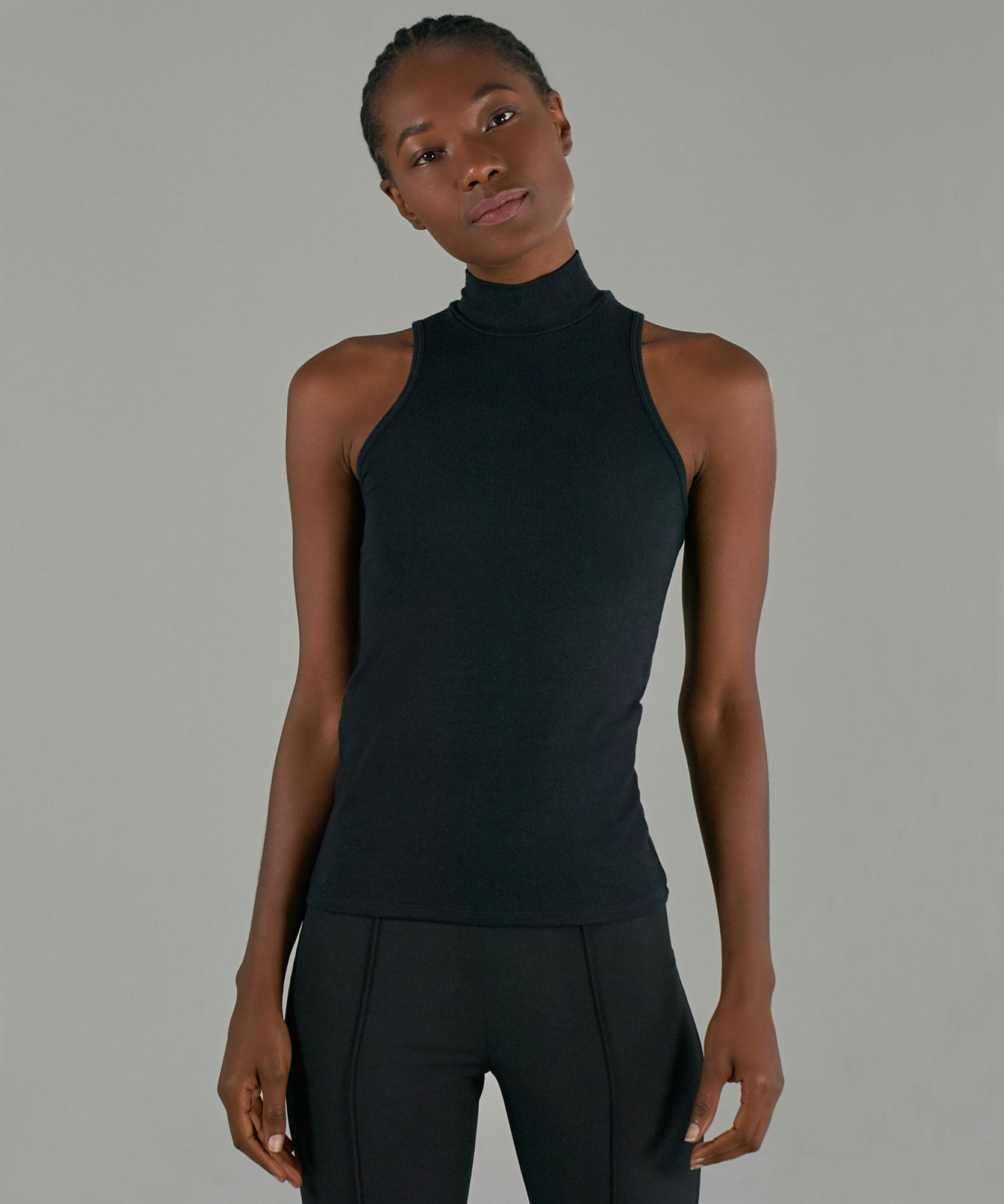 Black Modal Rib Sleeveless Mock Neck Top - Women's Ribbed Top by ATM Anthony Thomas Melillo