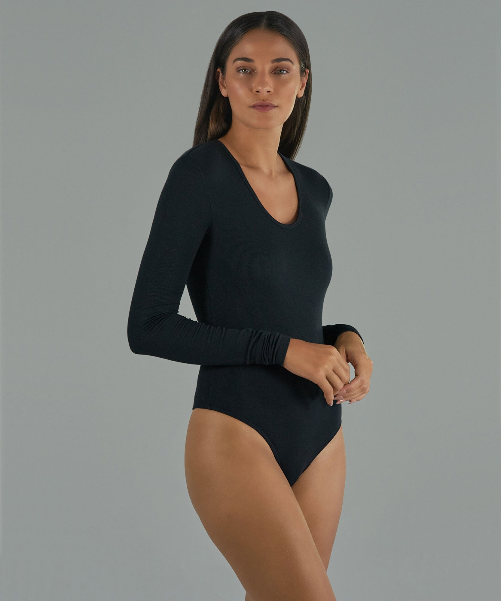 Black Modal Rib Scoop Neck Bodysuit - Women's Ribbed Bodysuit by ATM Anthony Thomas Melillo