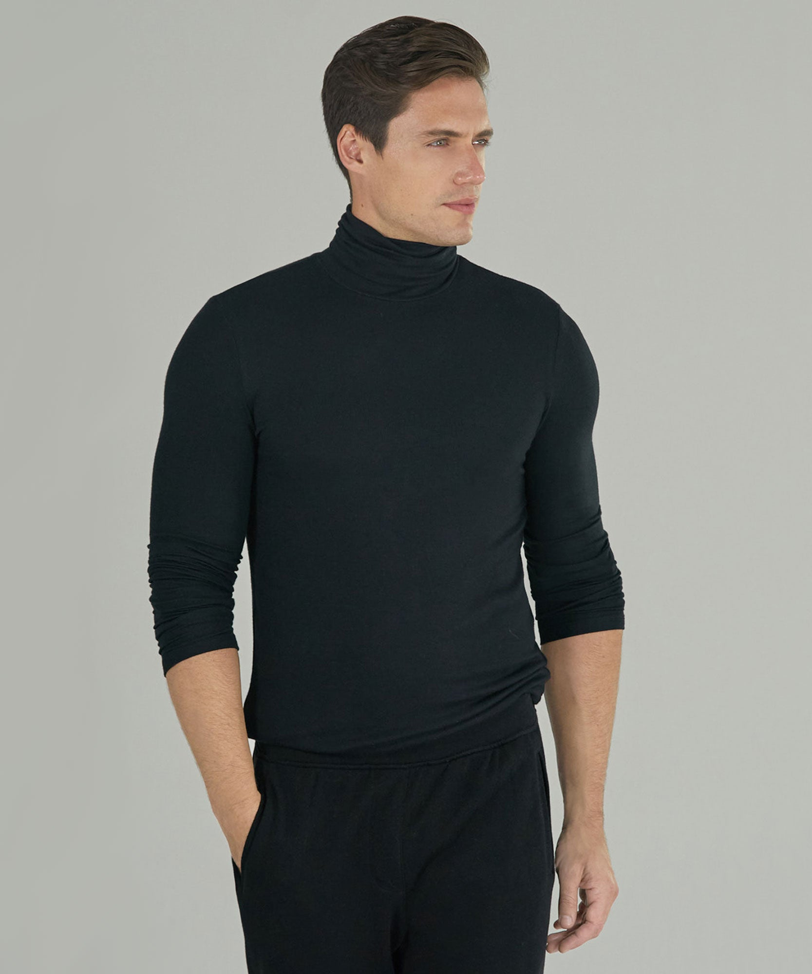 Black Modal Rib Long Sleeve Turtleneck- Men's Ribbed Turtleneck by ATM Anthony Thomas Melillo