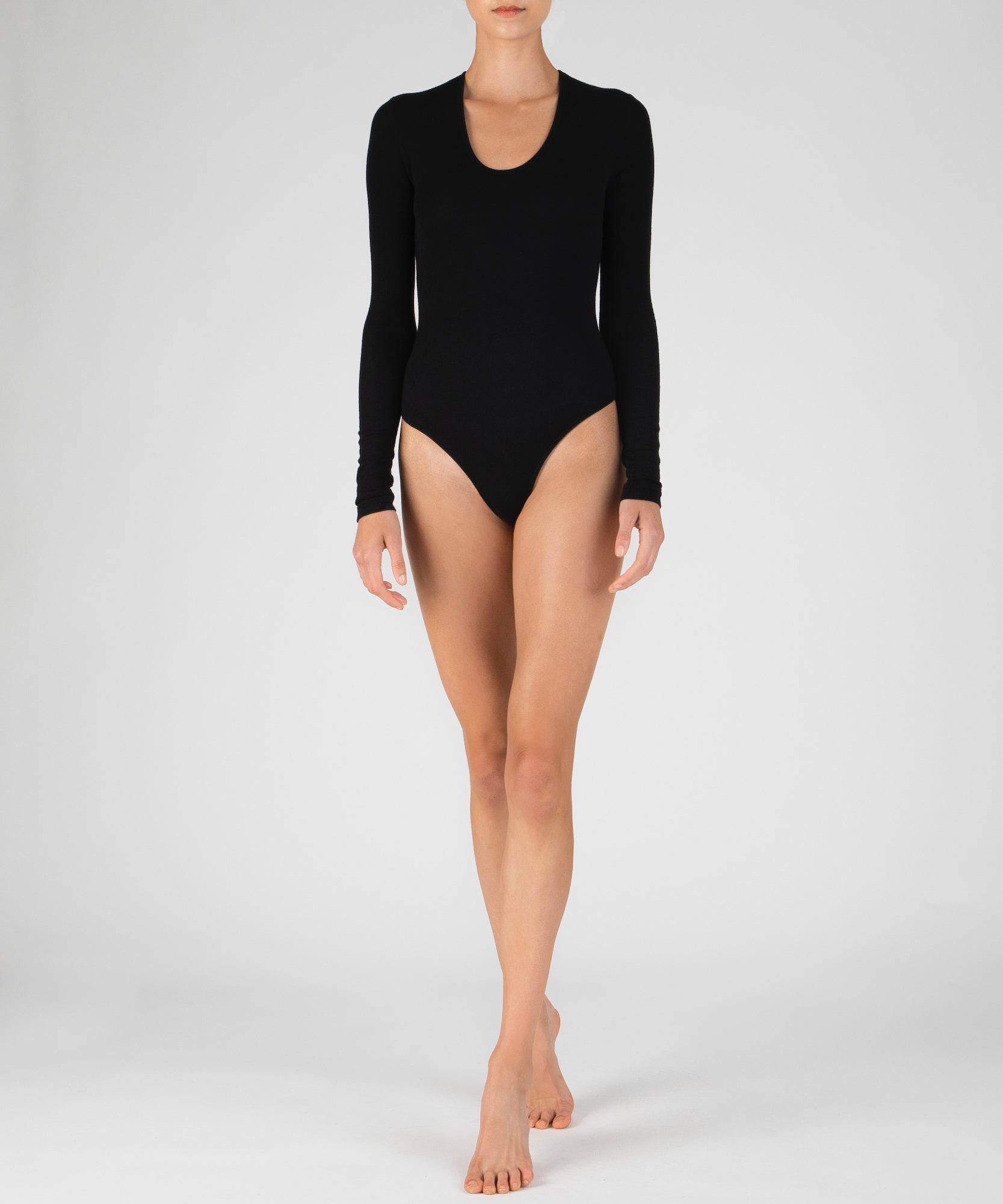 Black Modal Rib U-Neck Bodysuit - Women's Ribbed Bodysuit by ATM Anthony Thomas Melillo