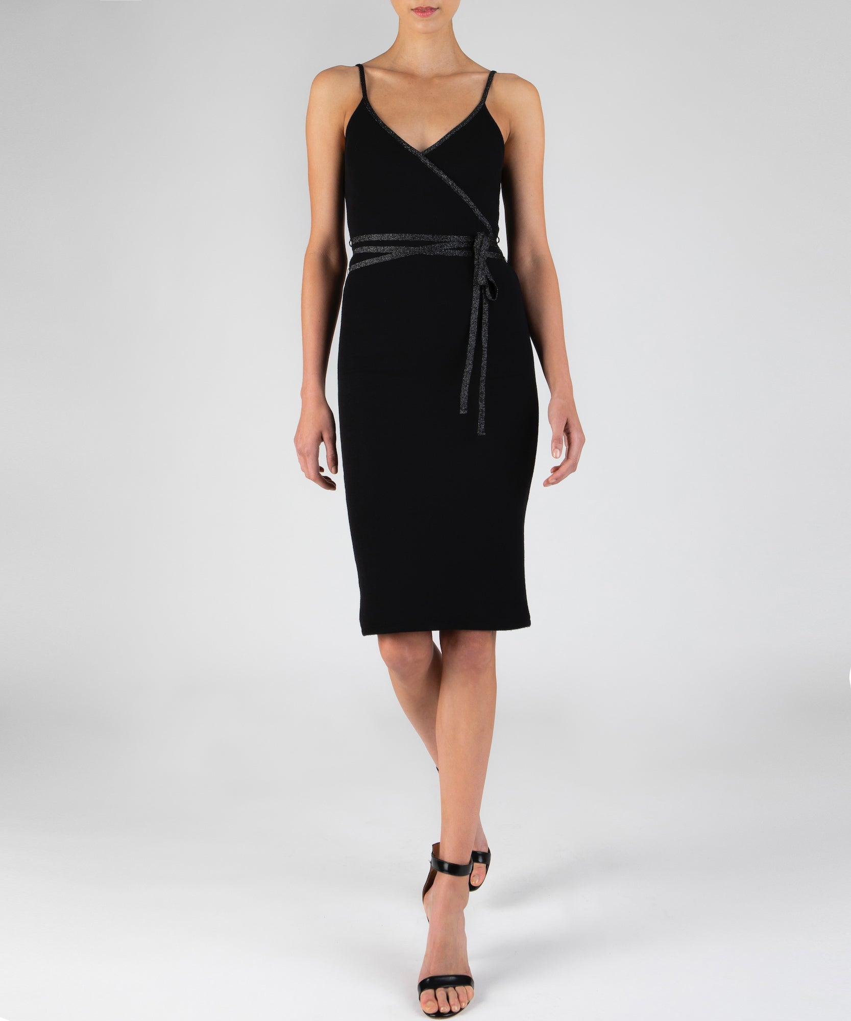 Black Modal Rib Wrap Dress - Women's Dress by ATM Anthony Thomas Melillo