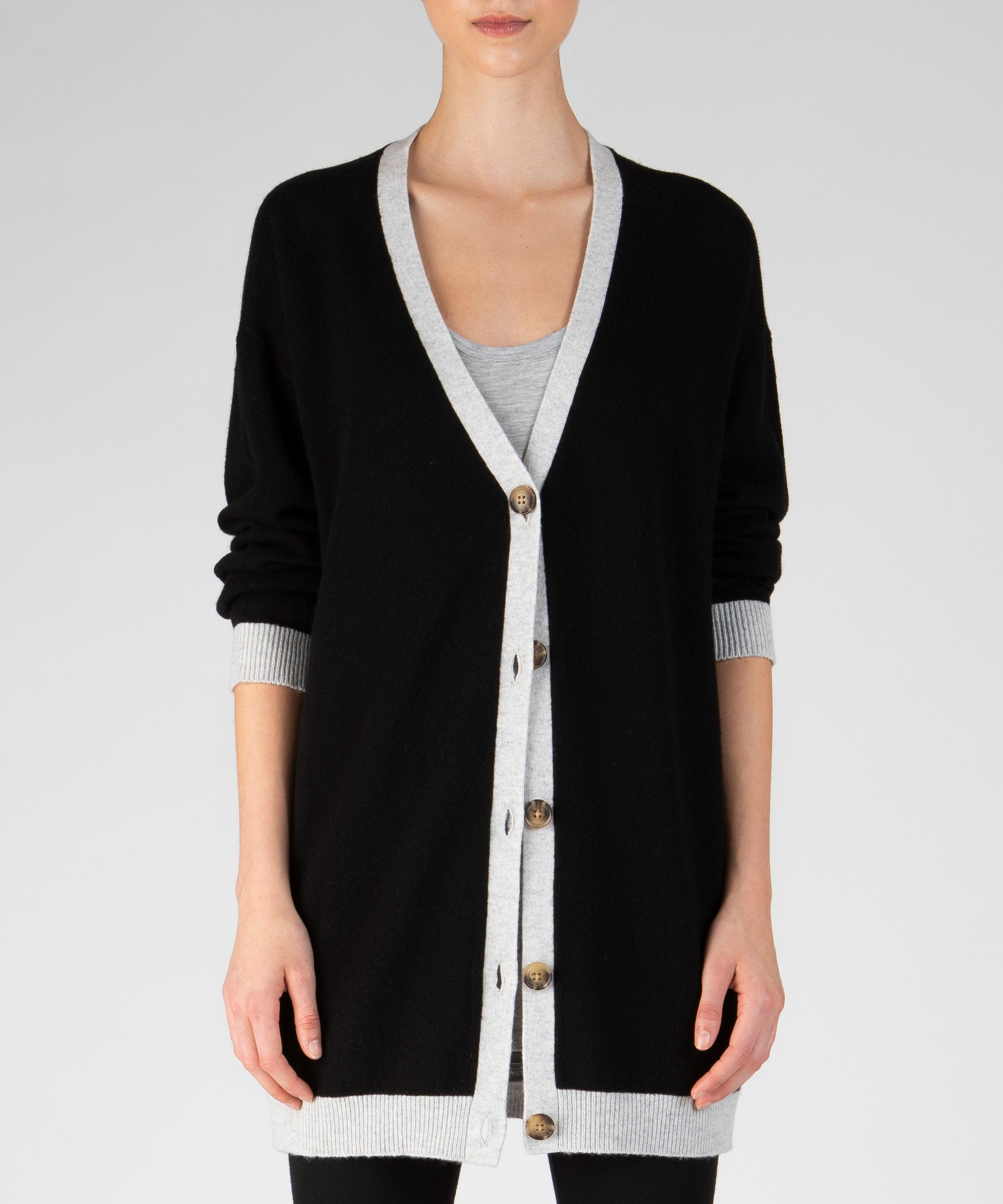 Black Oversized Cashmere Cardigan - Women's Luxe Sweater by ATM Anthony Thomas Melillo