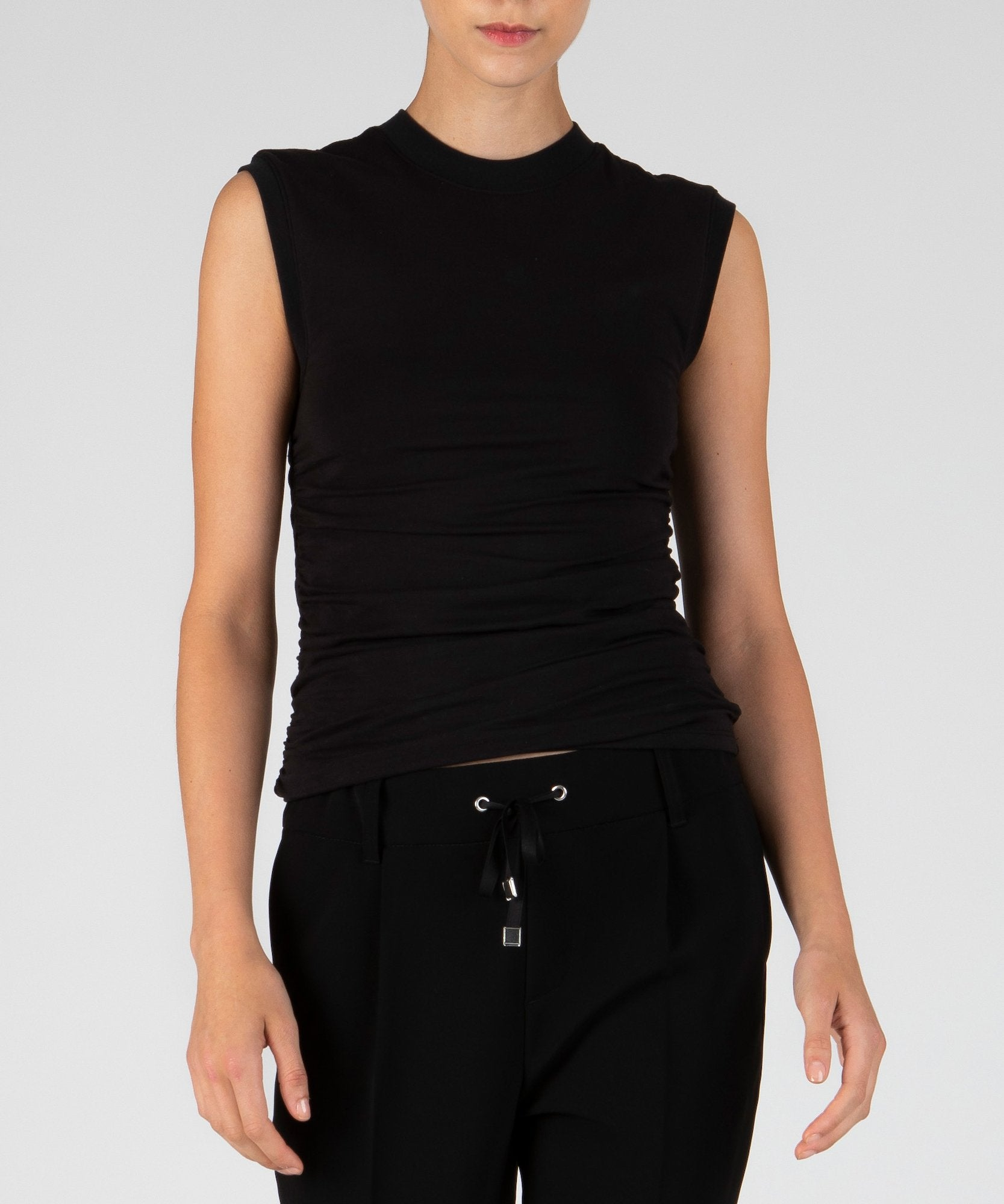 Black Pima Cotton Ruched Sleeveless Top - Women's Cotton Top by ATM Anthony Thomas Melillo