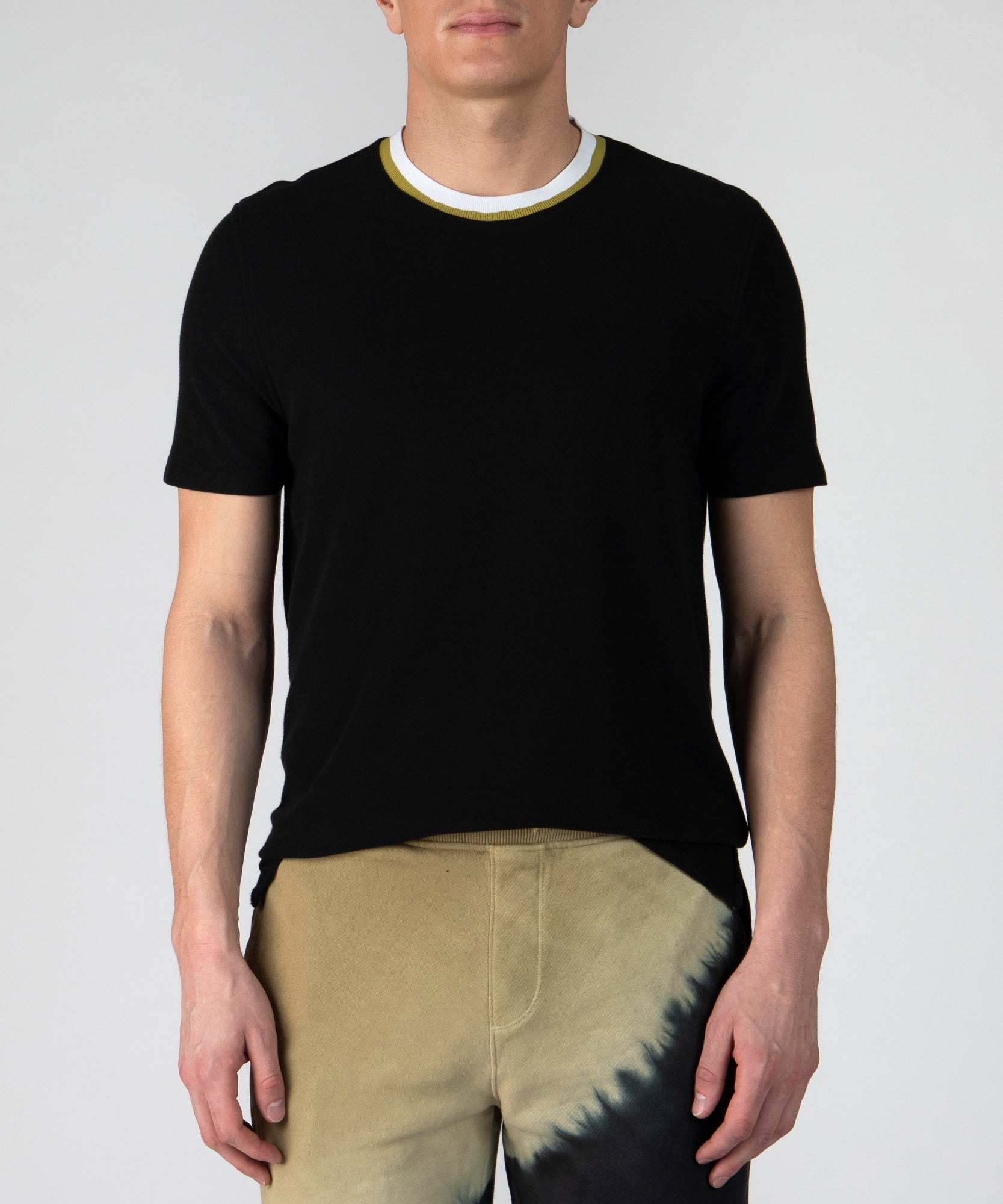 Black Pique Hand Painted Crew Neck Tee- Men's Cotton Short Sleeve T-shirt by ATM Anthony Thomas Melillo