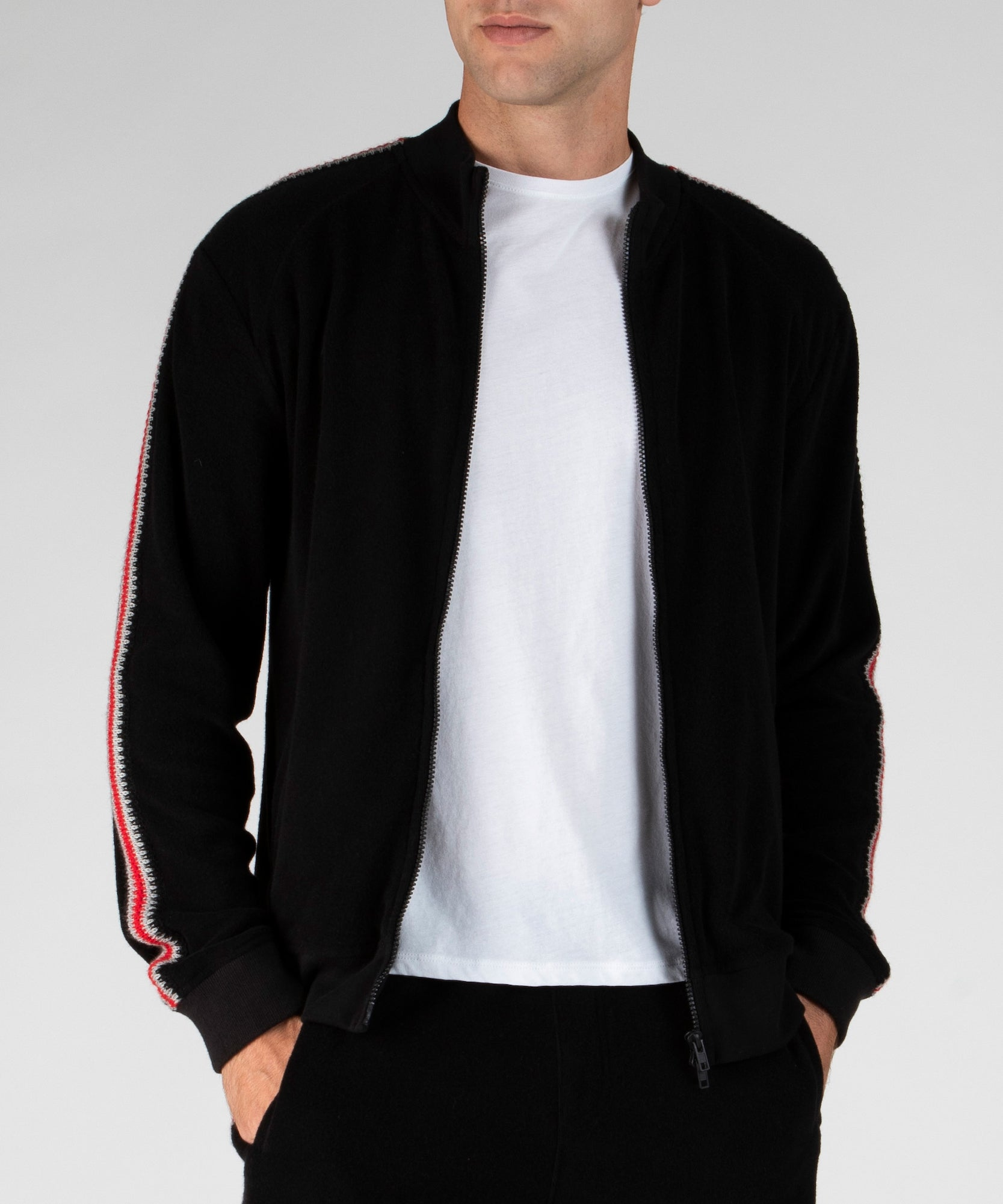 Black Plush Terry Zip-Up Track Jacket - Men's Luxe Loungewear by ATM Anthony Thomas Melillo