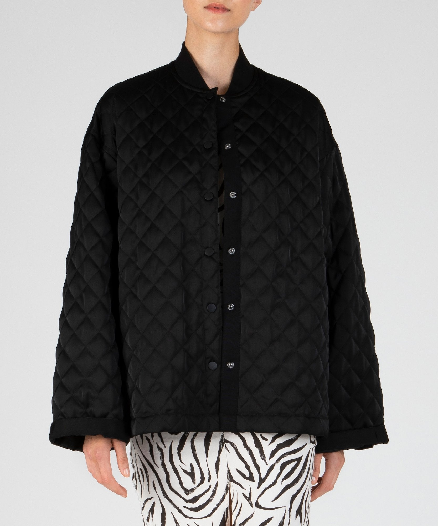 Black Quilted Oversized Coat - Women's Casual Jacket by ATM Anthony Thomas Melillo