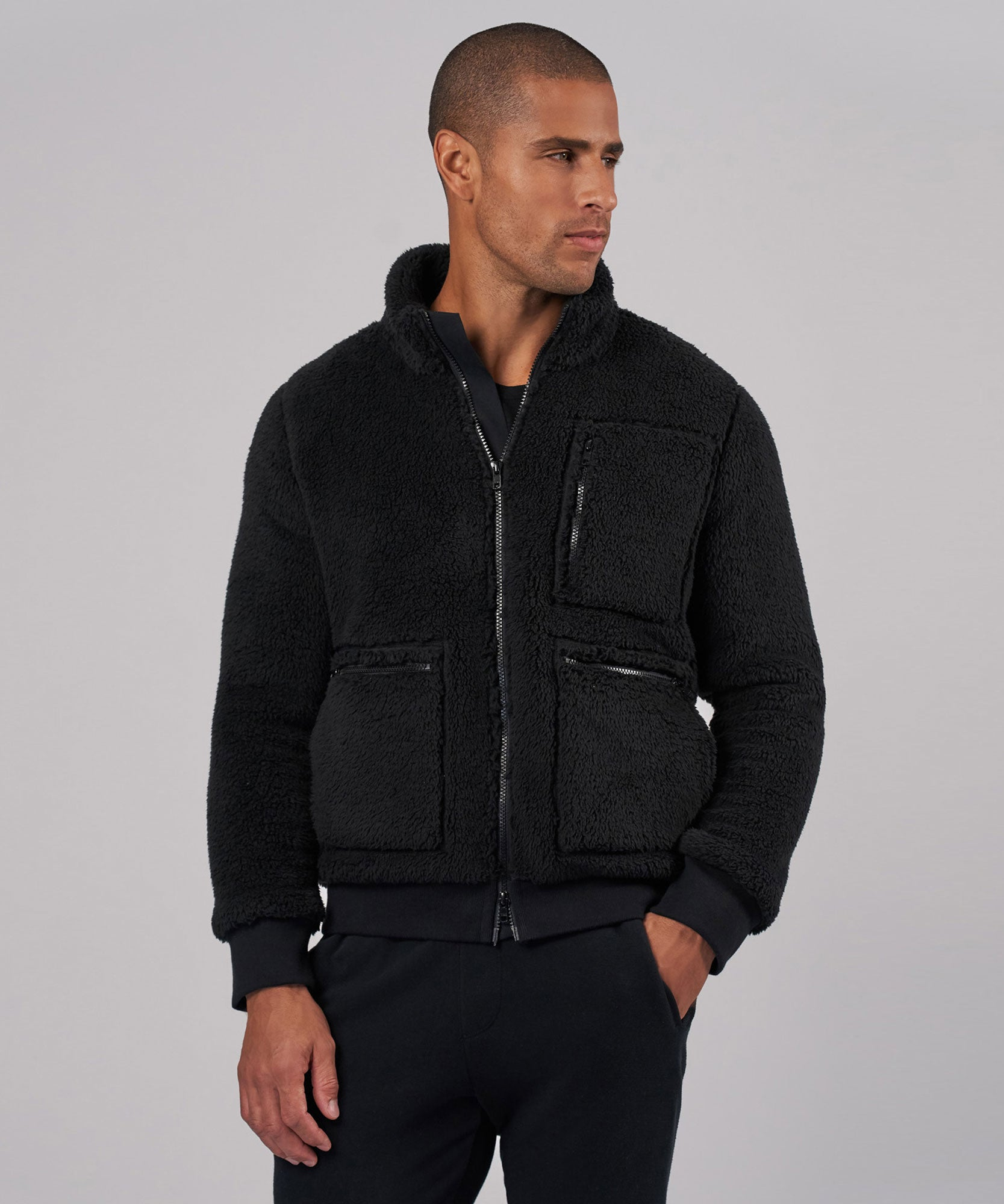 Black Sherpa Zip-Up Jacket - Men's Jacket by ATM Anthony Thomas Melillo