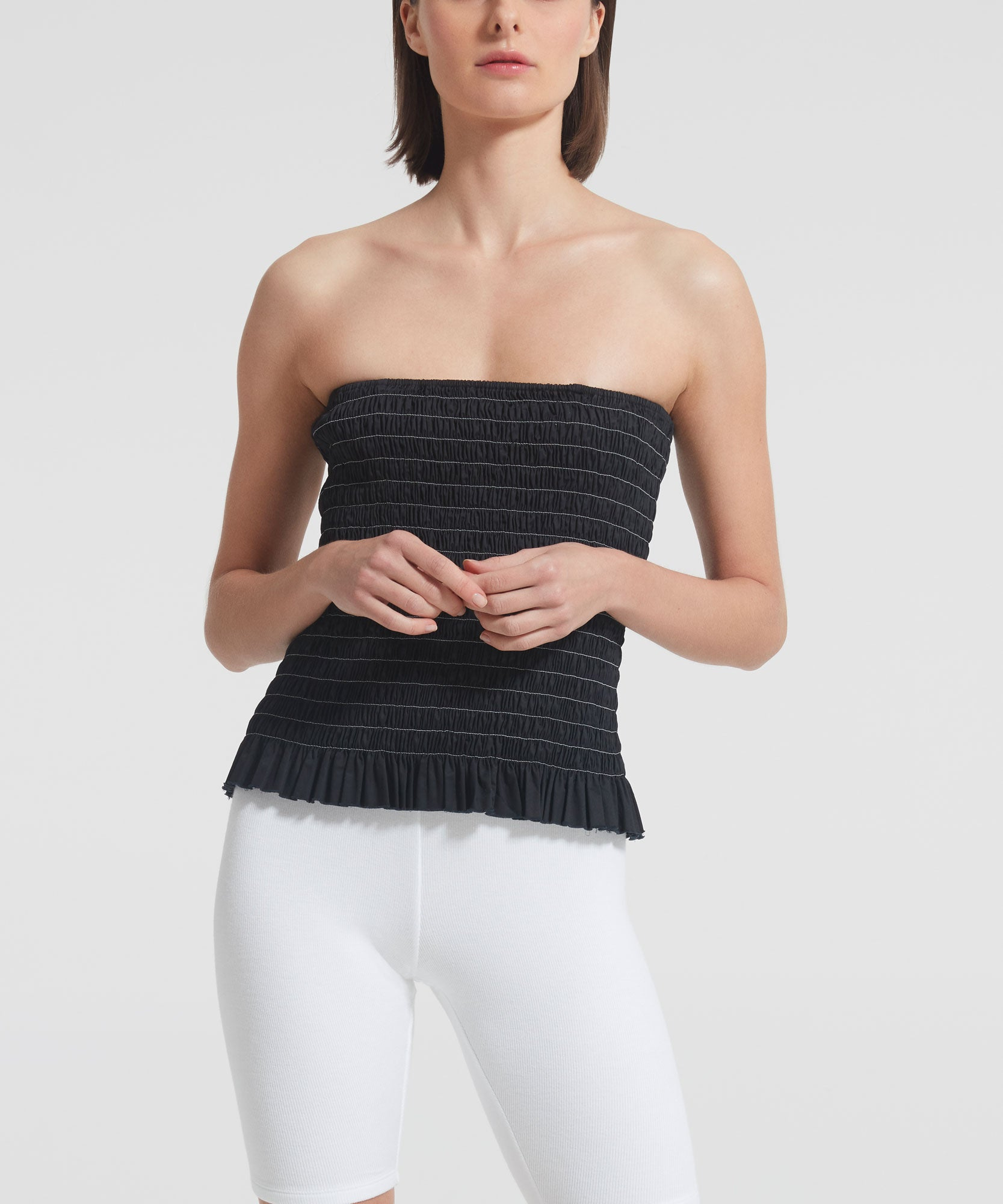 Black Shirred Cotton Poplin Bustier Top - Women's Cotton Poplin Strapless Top by ATM Anthony Thomas Melillo