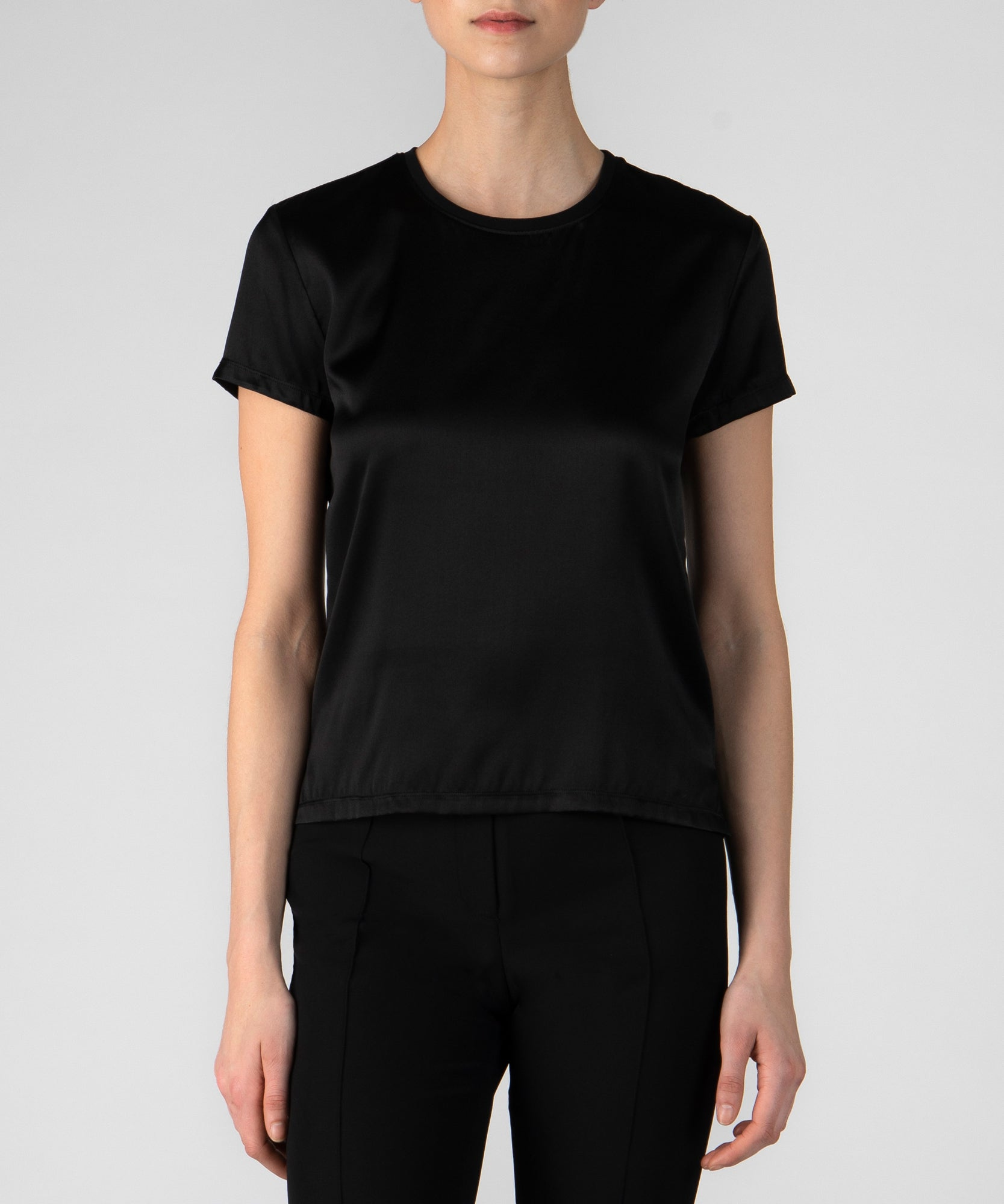 Black Silk Blend Crew Neck Tee - Women's Luxe Top by ATM Anthony Thomas Melillo