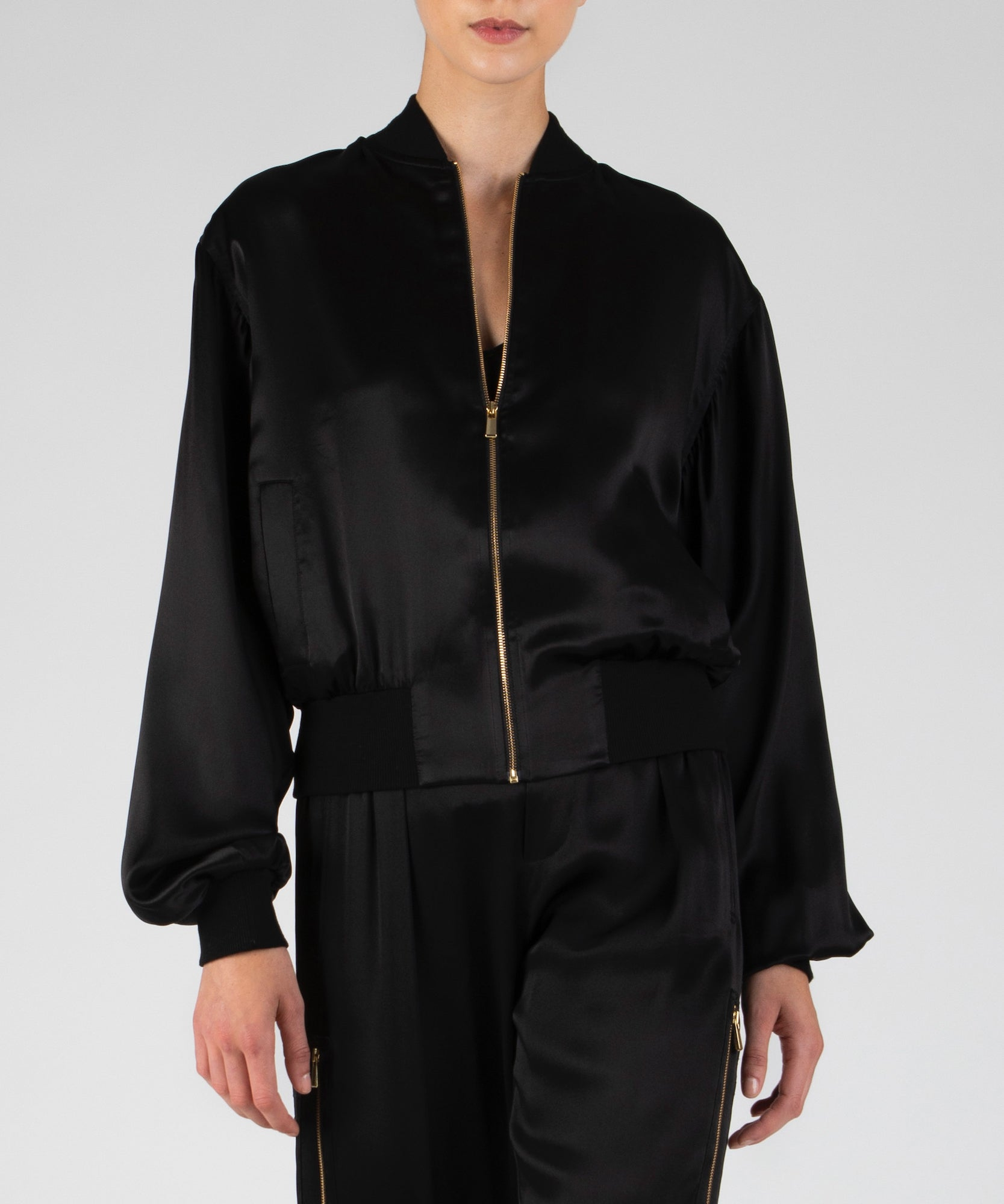 Black Silk Charmeuse Cargo Jacket - Women's Casual Jacket by ATM Anthony Thomas Melillo