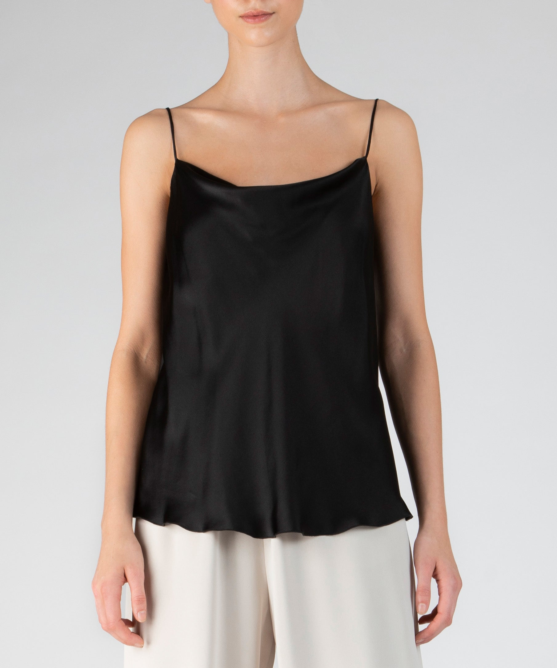 Black Silk Charmeuse Cowl Neck Cami - Women's Silk Top by ATM Anthony Thomas Melillo