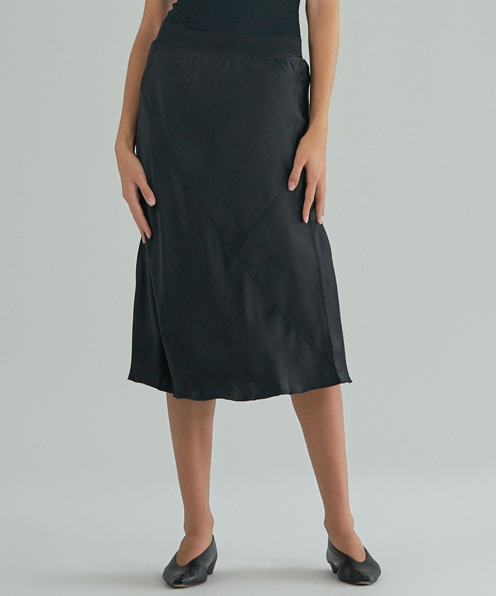 Black Silk Pull-On Skirt - Women's Silk Skirt by ATM Anthony Thomas Melillo