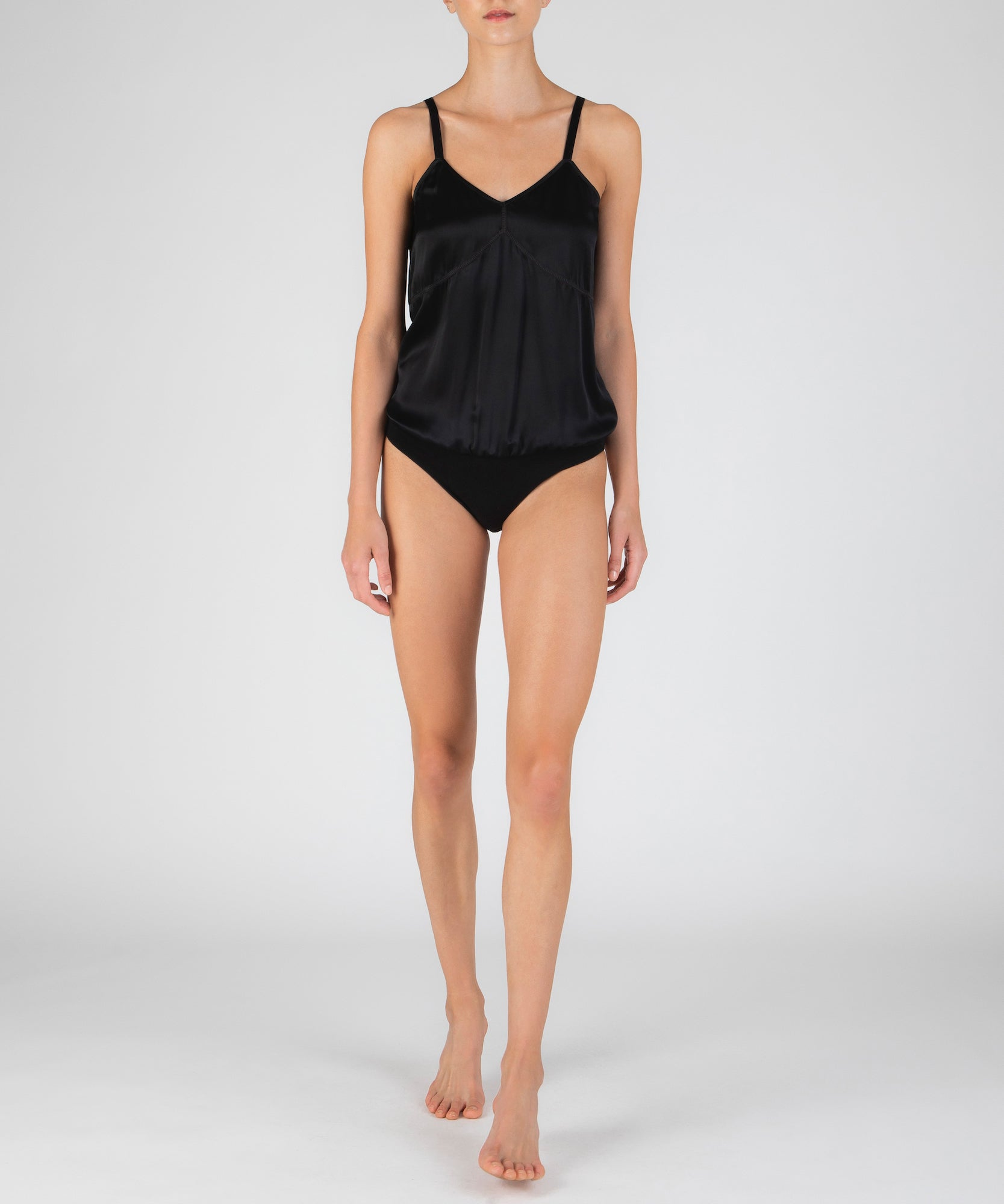 Black Silk V-Neck Cami Bodysuit - Women's Luxe Bodysuit ATM Anthony Thomas Melillo