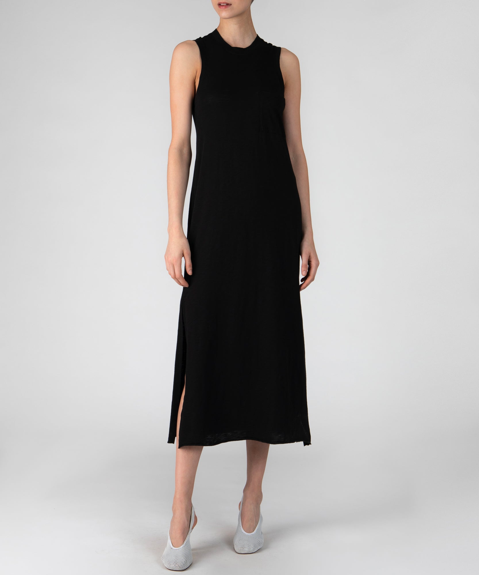 Black Sleeveless Maxi Dress - Women's Casual Dress by ATM Anthony Thomas Melillo