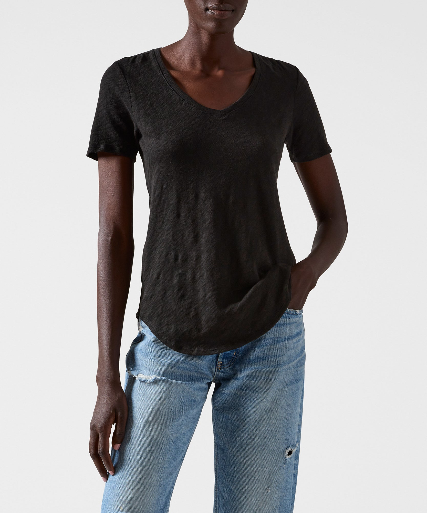 Black Slub Jersey V-Neck Tee - Women's Cotton Short Sleeve Tee by ATM Anthony Thomas Melillo