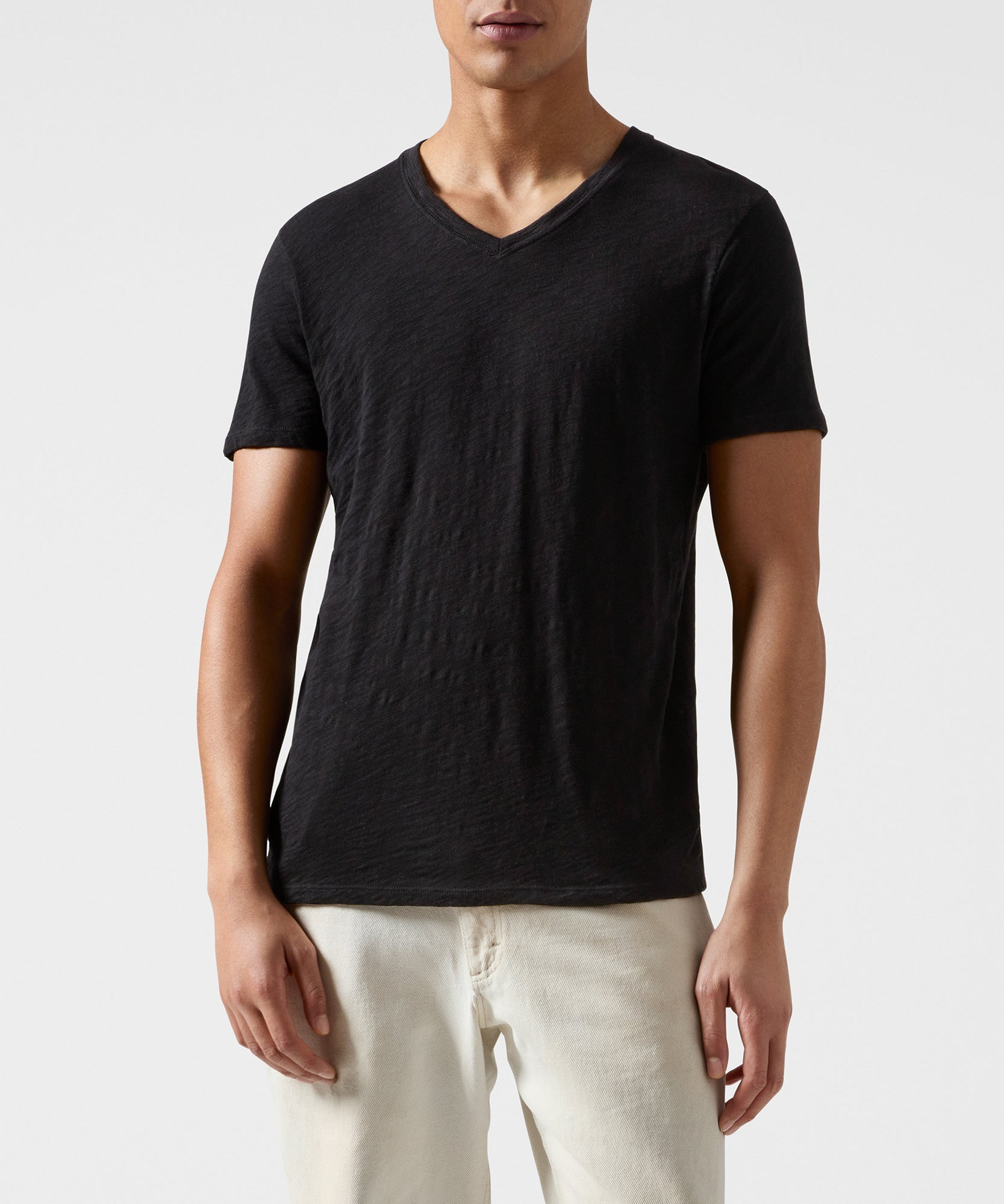 Black Slub Jersey V-Neck Tee - Men's Cotton Short Sleeve Tee by ATM Anthony Thomas Melillo