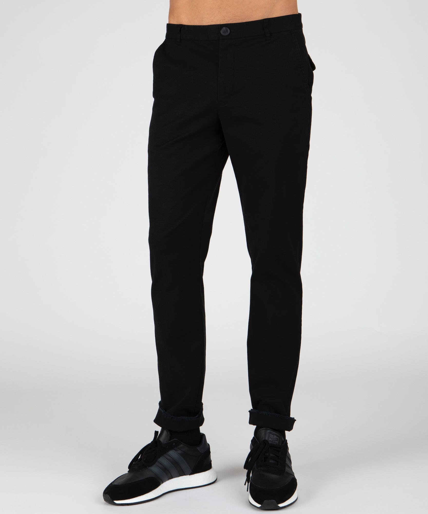 Black Stretch Cotton Garment Wash Slim Pants - Men's Casual Pants by ATM Anthony Thomas Melillo