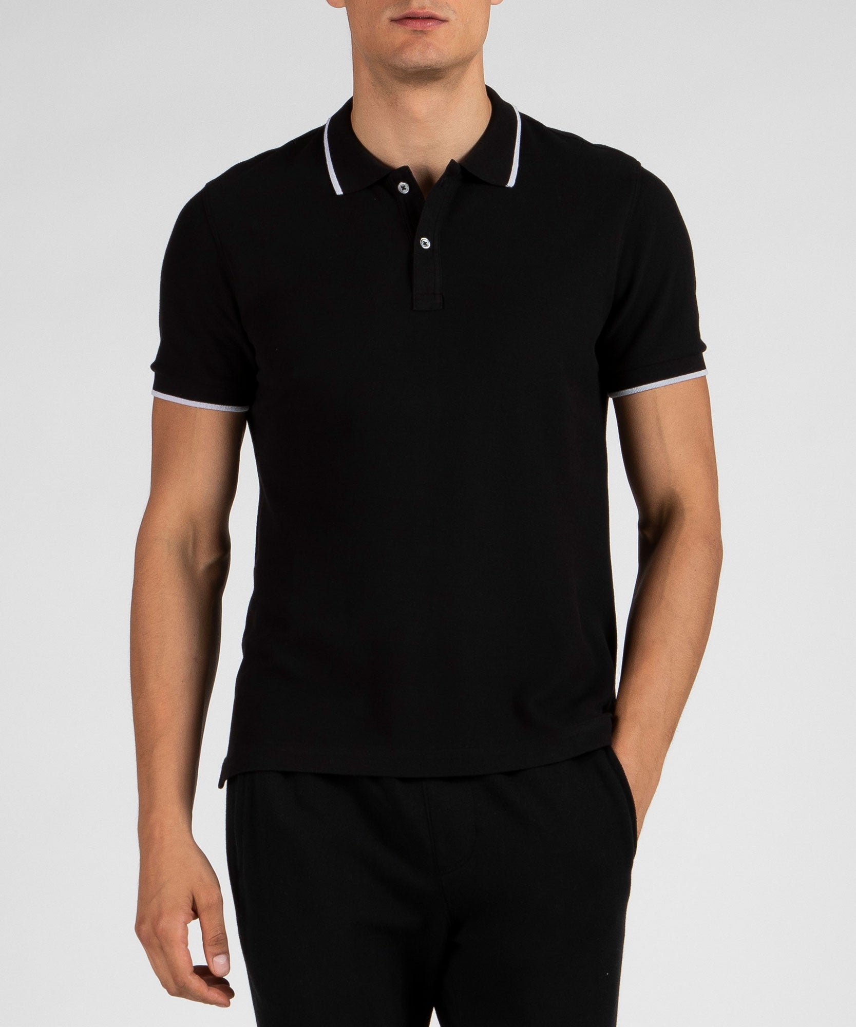 Black Tipped Pique Polo - Men's Polo Shirt by ATM Anthony Thomas Melillo