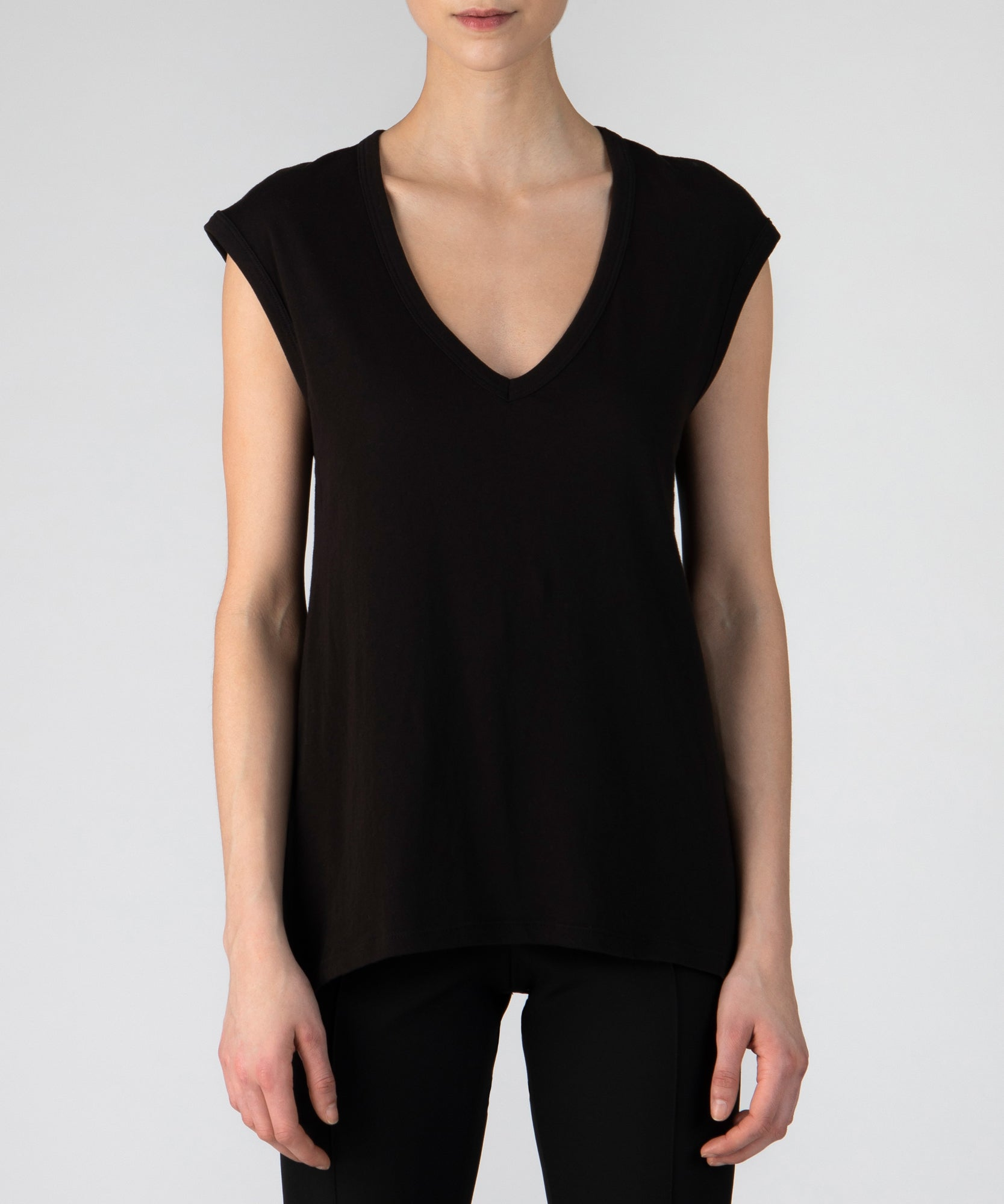 Black Vintage Jersey Sleeveless Tee - Women's Luxe Top by ATM Anthony Thomas Melillo