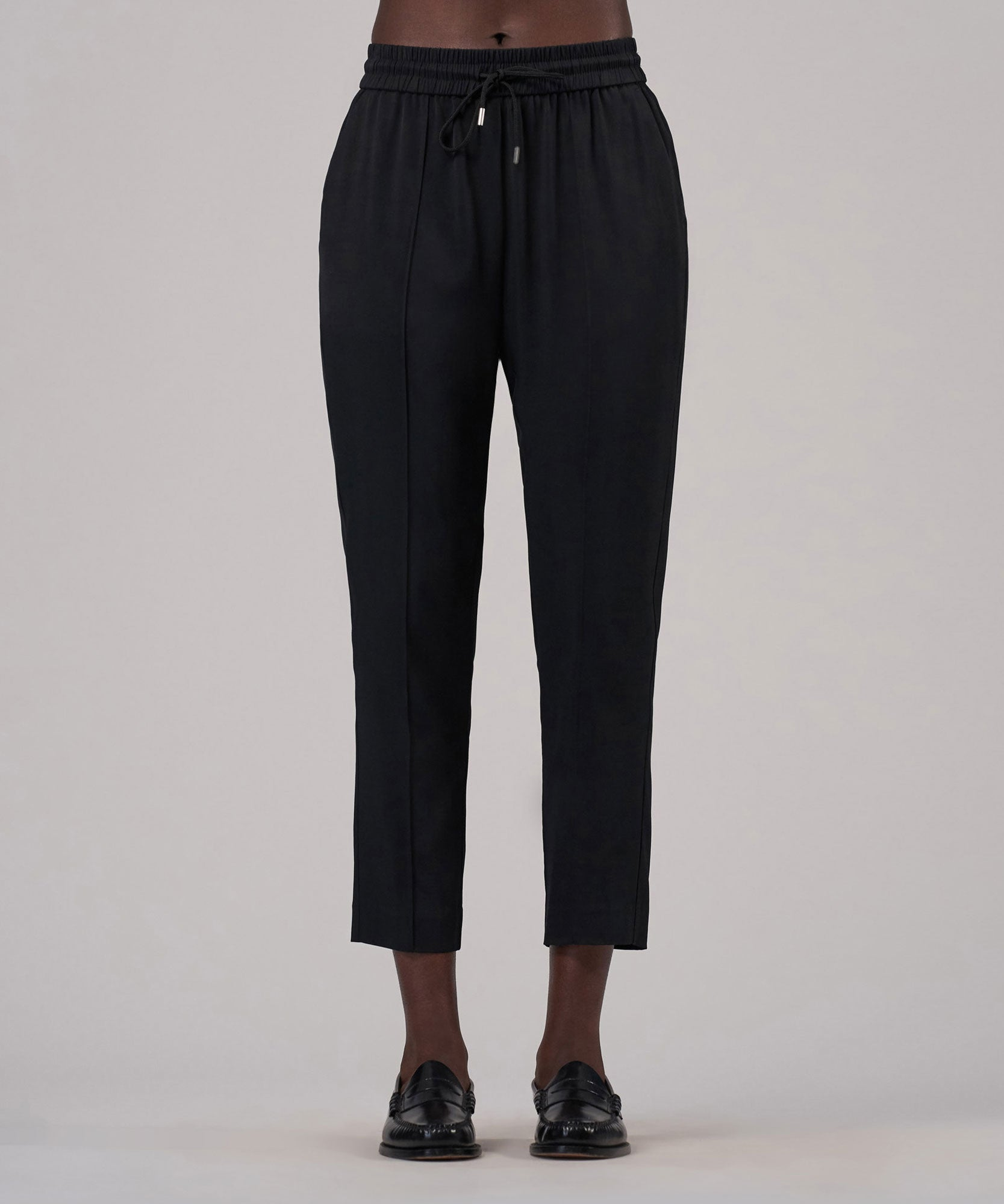 Black Viscose Twill Cropped Pull-On Pants - Women's Luxe Loungewear by ATM Anthony Thomas Melillo