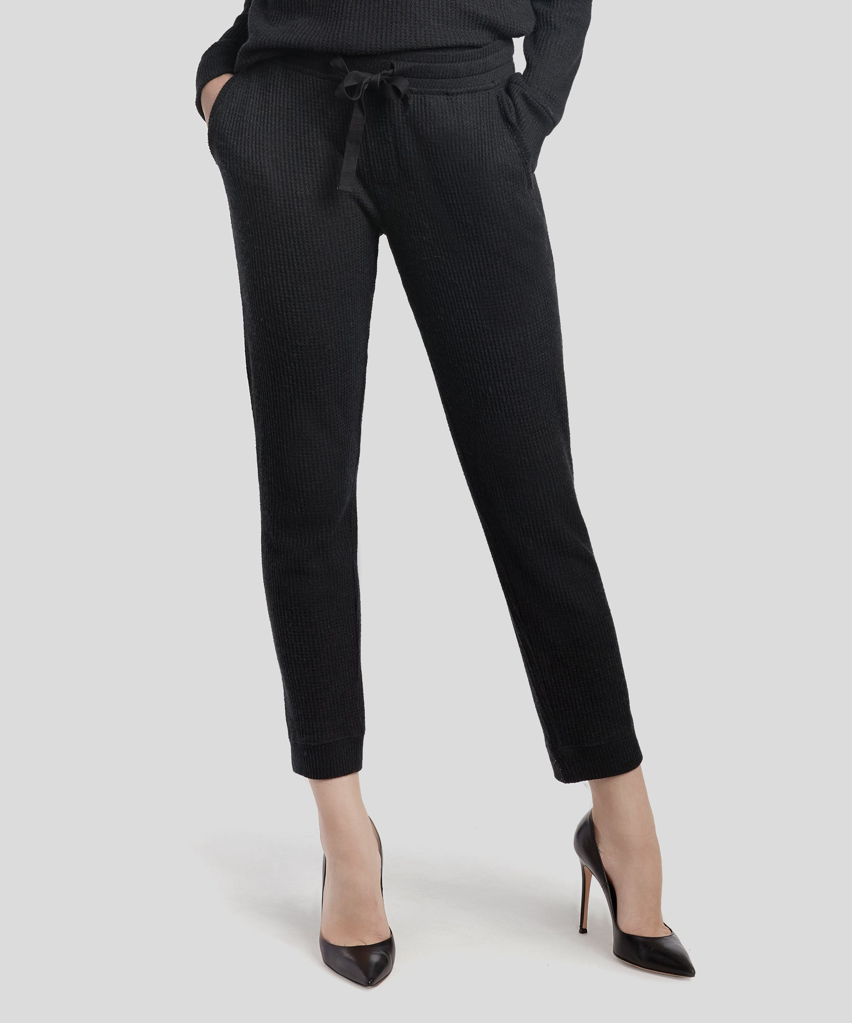 Black Waffle Pull-On Cropped Pants - Women's Luxe Loungewear by ATM Anthony Thomas Melillo
