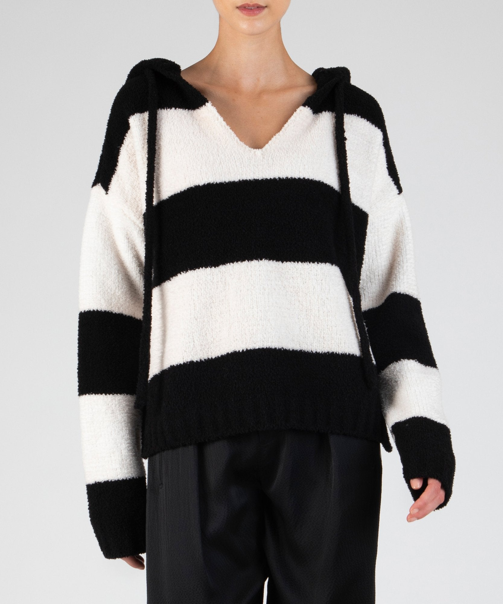 Black and White Bold Stripe Chenille Hooded Sweater - Women's Luxe Sweater by ATM Anthony Thomas Melillo