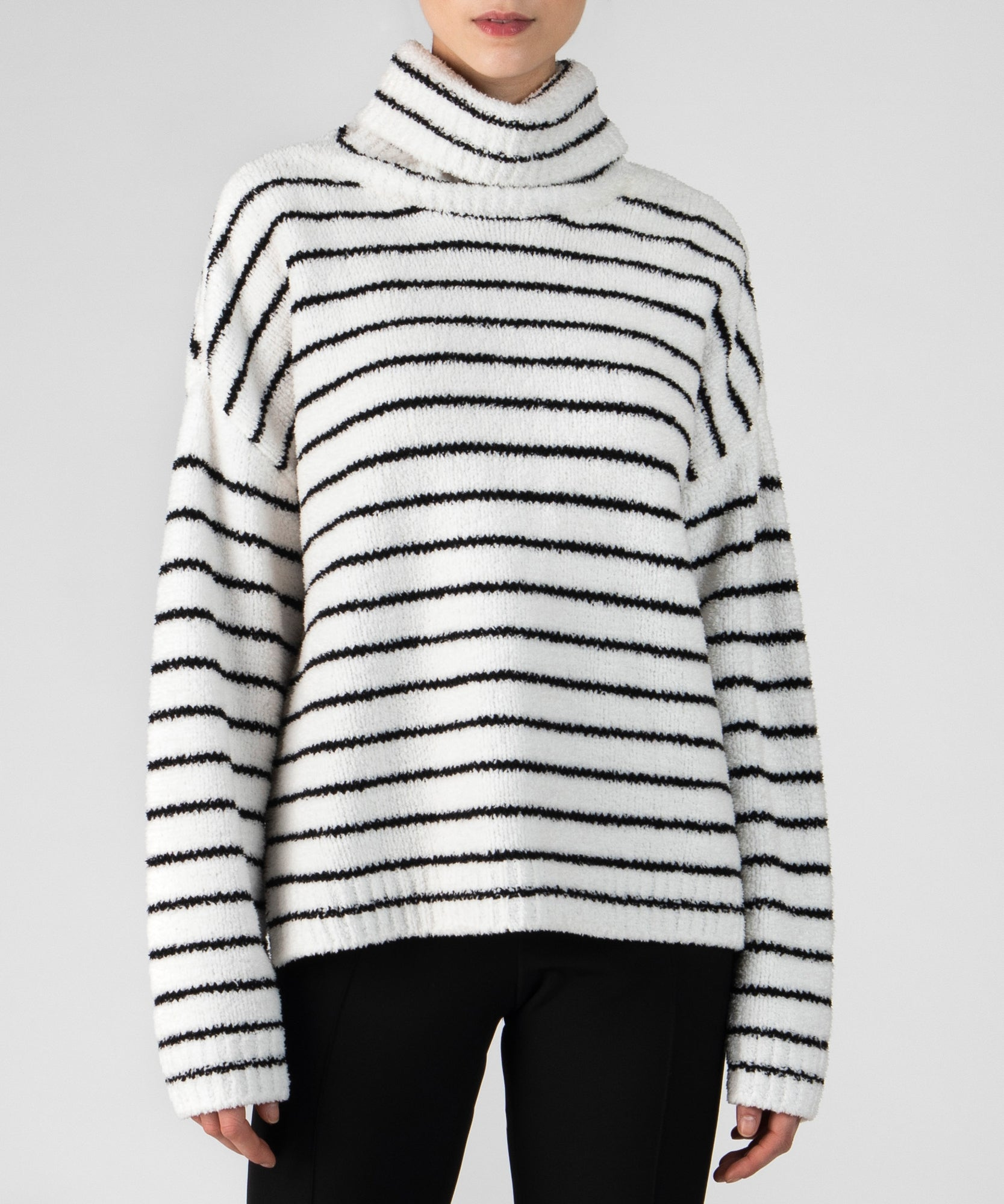 Black and White Stripe Chenille Funnel Neck Sweater - Women's Luxe Sweater by ATM Anthony Thomas Melillo