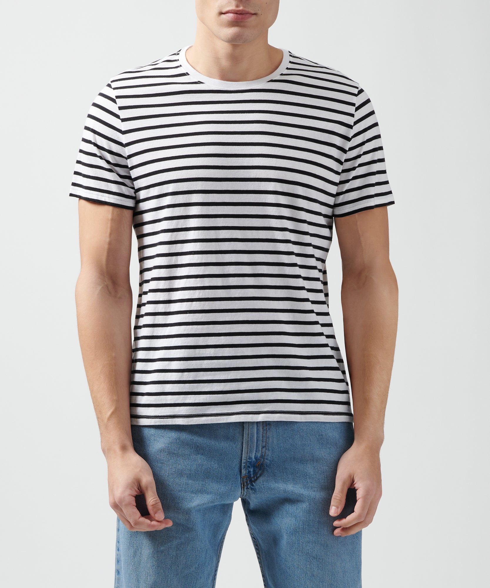 Black and White Classic Jersey Striped Crew Neck Tee - Men's Luxury Tee by ATM Anthony Thomas Melillo