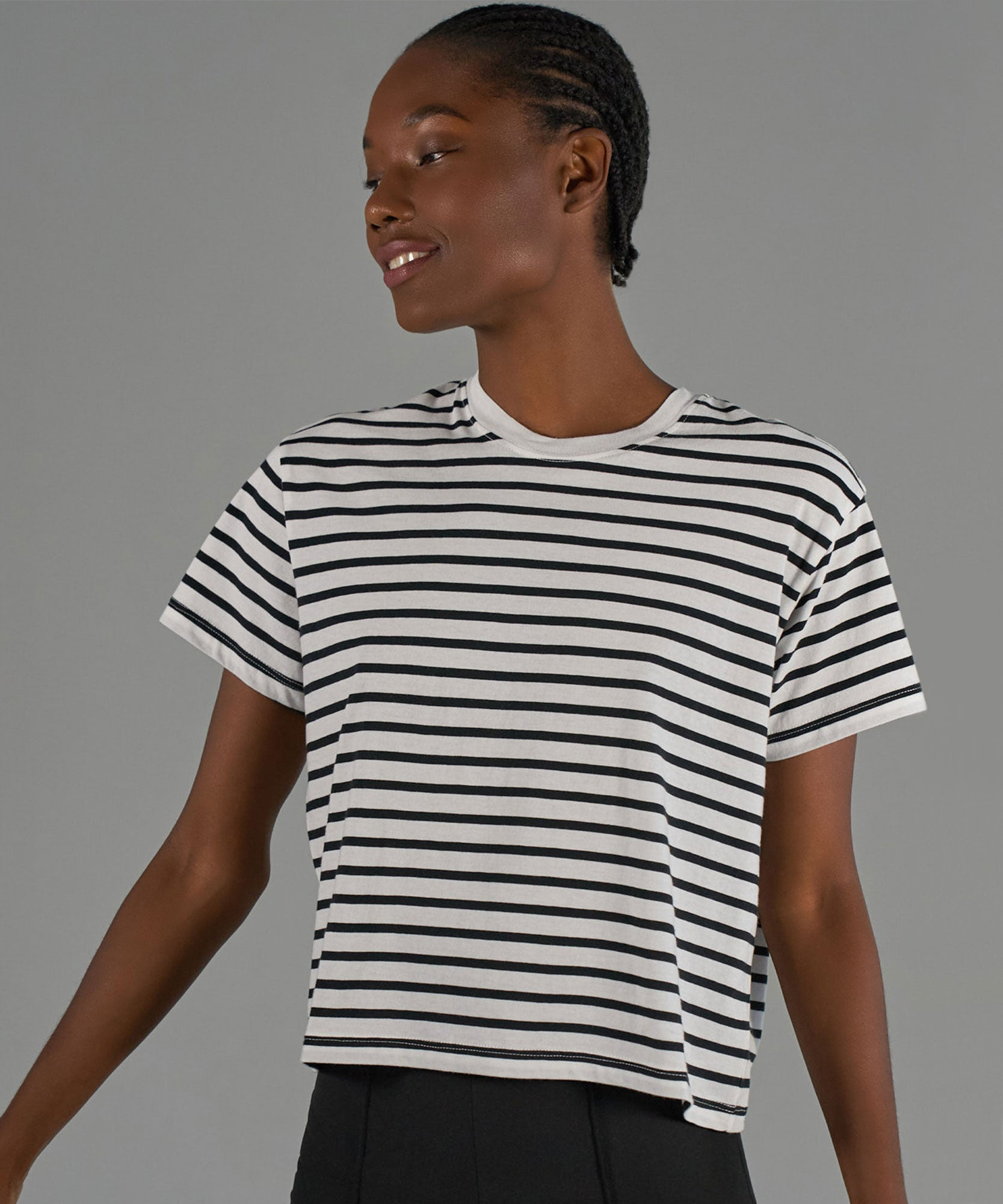 Black and White Stripe Classic Jersey Short Sleeve Boy Tee - Women's Cotton Short Sleeve T-shirt by ATM Anthony Thomas Melillo