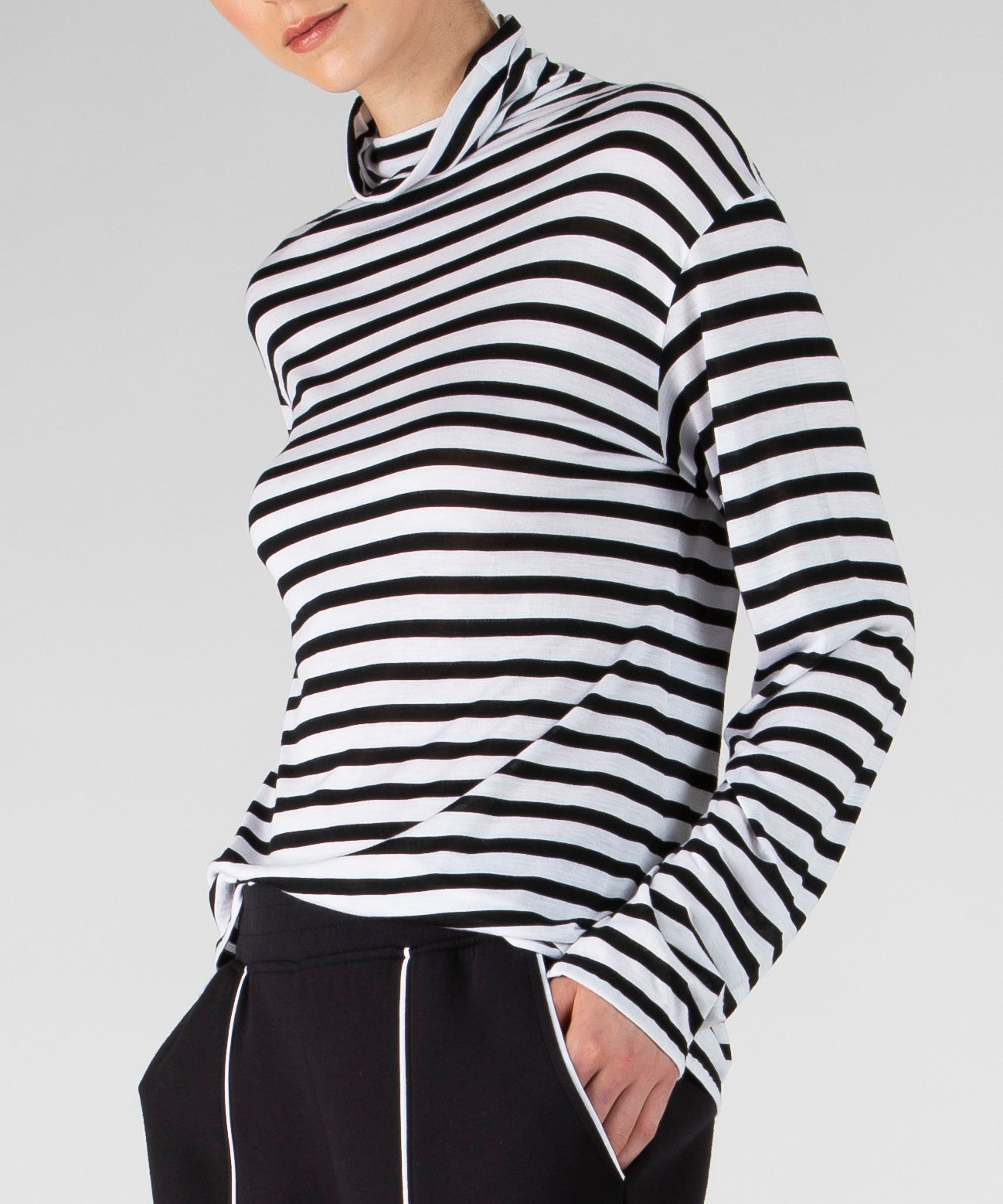 Black and White Stripe Modal Jersey Long Sleeve Mock Neck Top - Women's Luxe Top ATM Anthony Thomas Melillo
