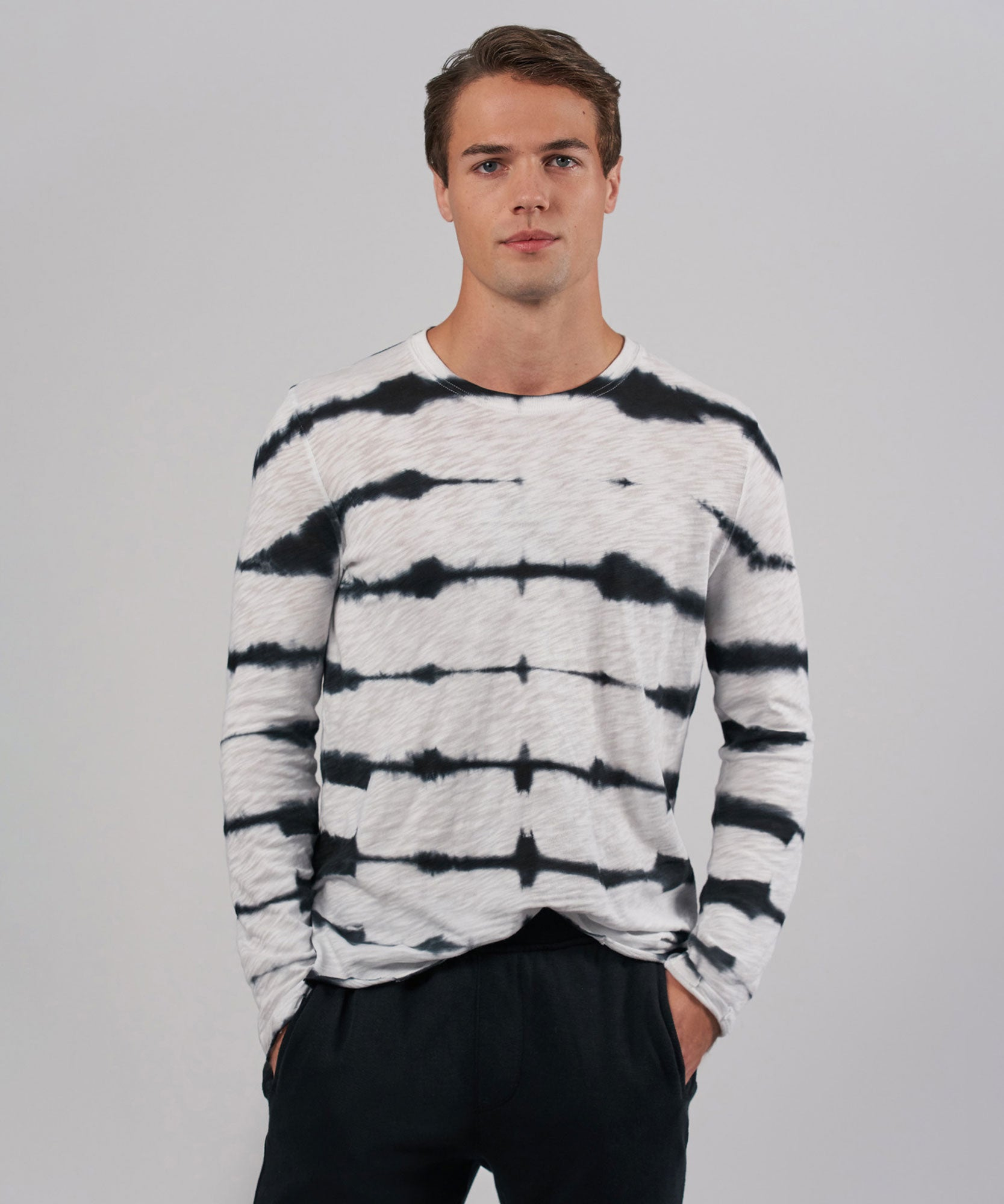 Black/ White Tie Dye Slub Jersey Long Sleeve Destroyed Wash Tee - Men's Long Sleeve T-Shirt by ATM Anthony Thomas Melillo