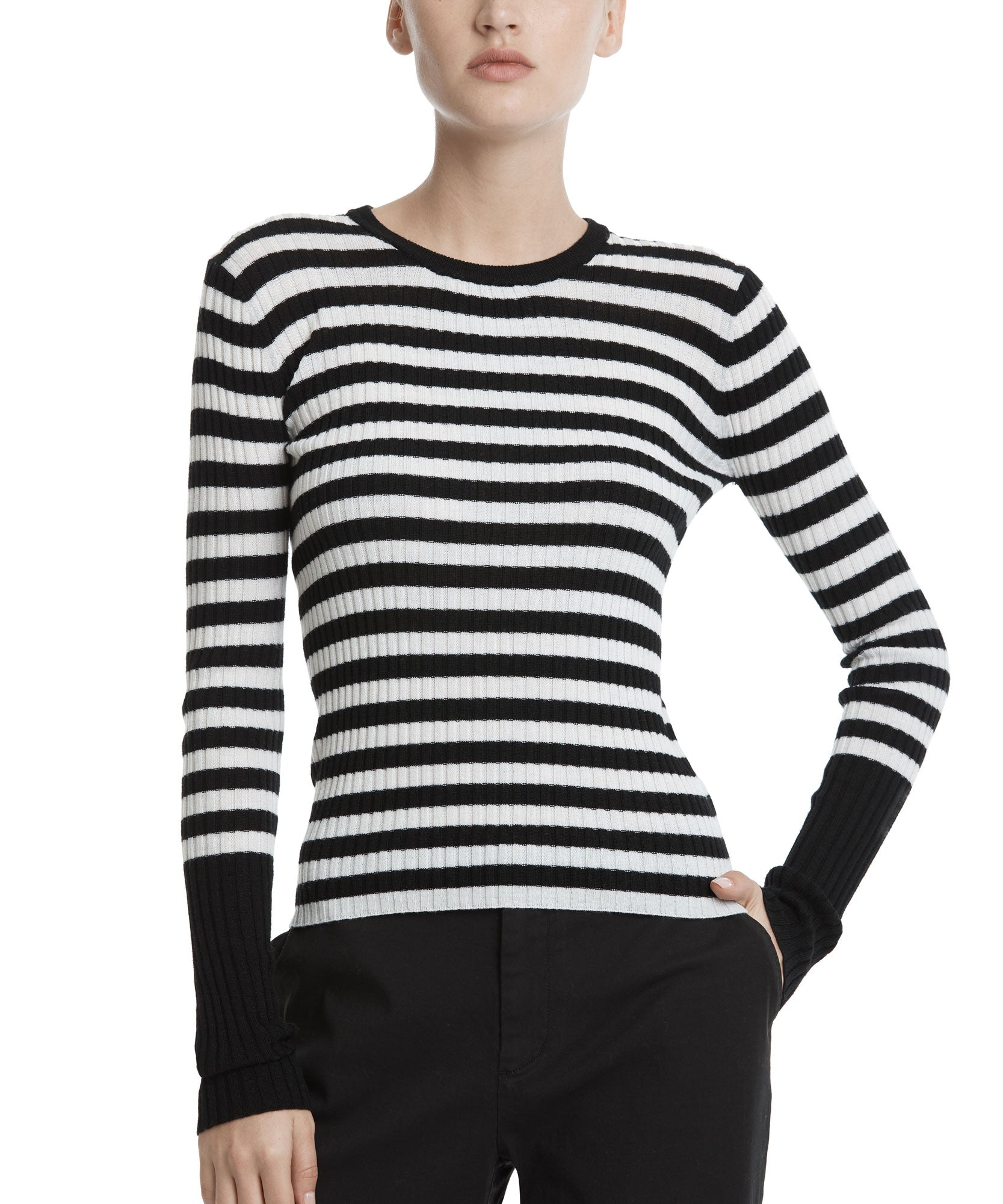 Black and White Wool Striped Rib Crew Neck Sweater - Women's Casual Wool Sweater ATM Anthony Thomas Melillo