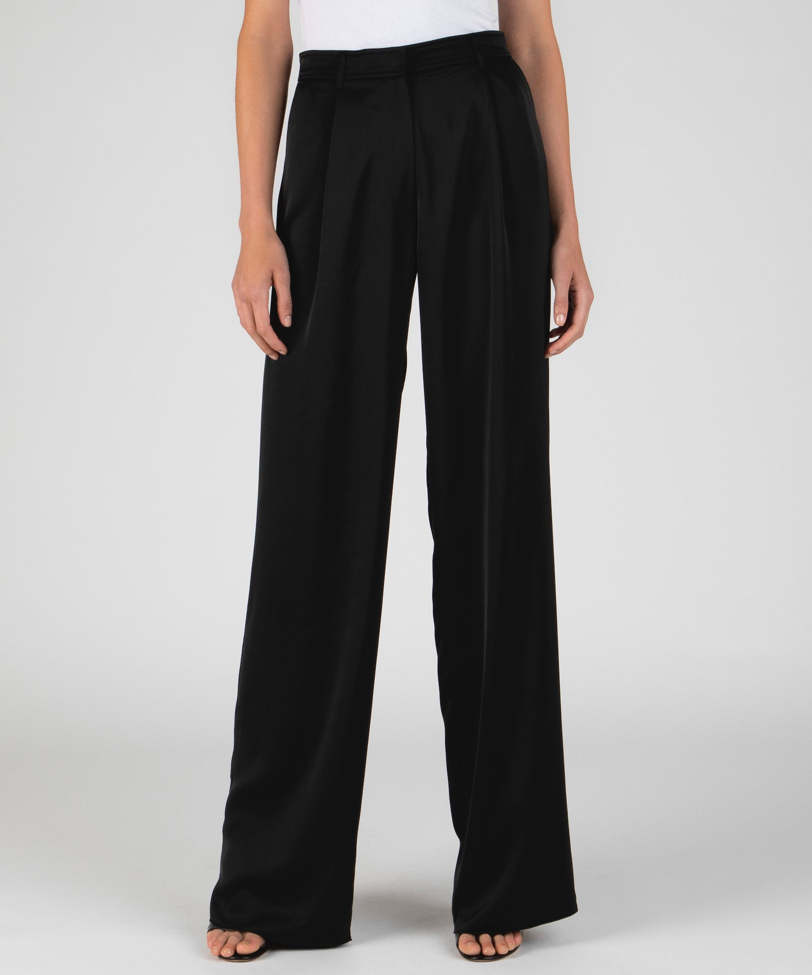 Black Wide Leg Easy Pants - Women's Luxe Pants ATM Anthony Thomas Melillo