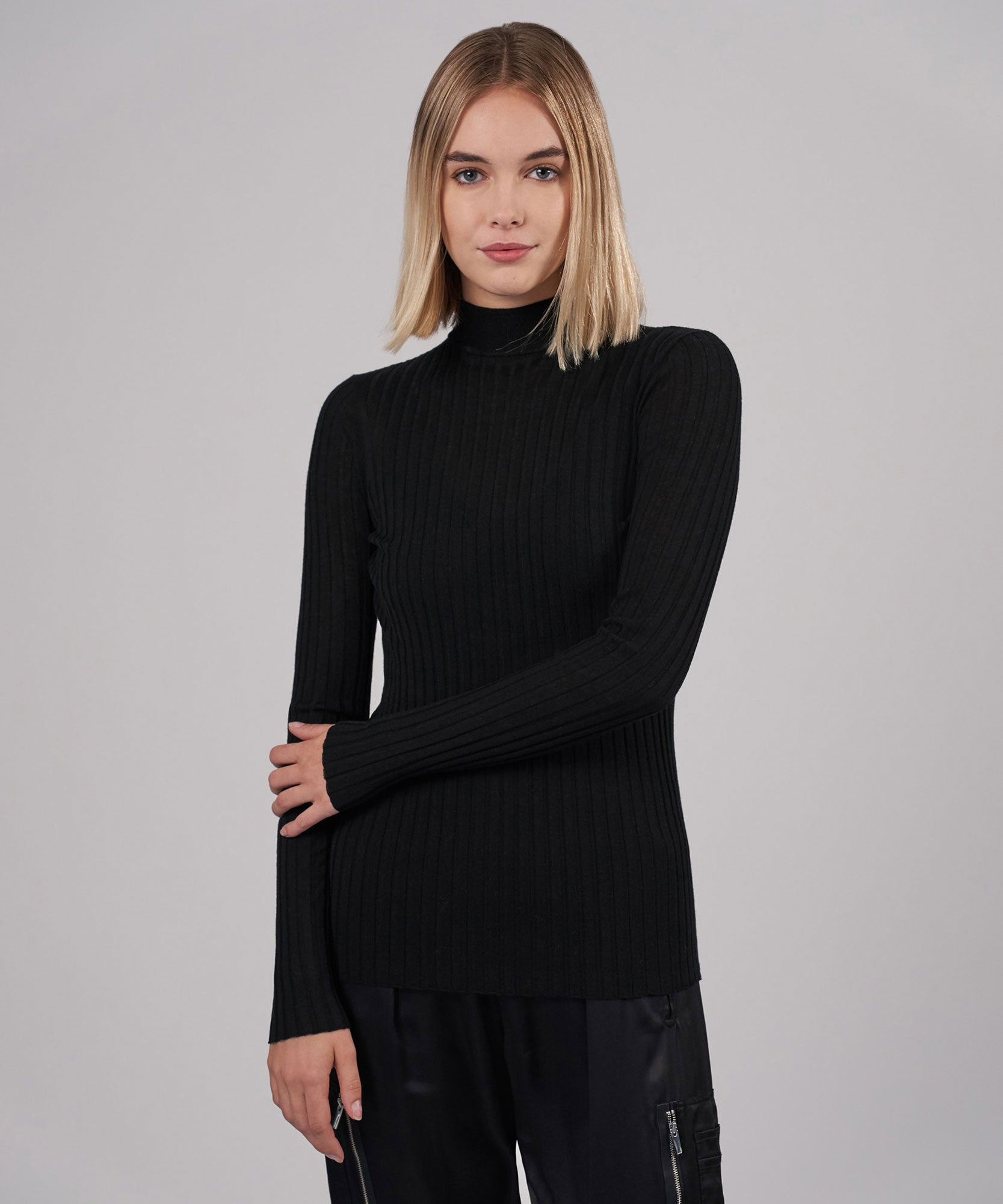 Black Wool Wide Rib Turtleneck - Women's Turtleneck ATM Anthony Thomas Melillo