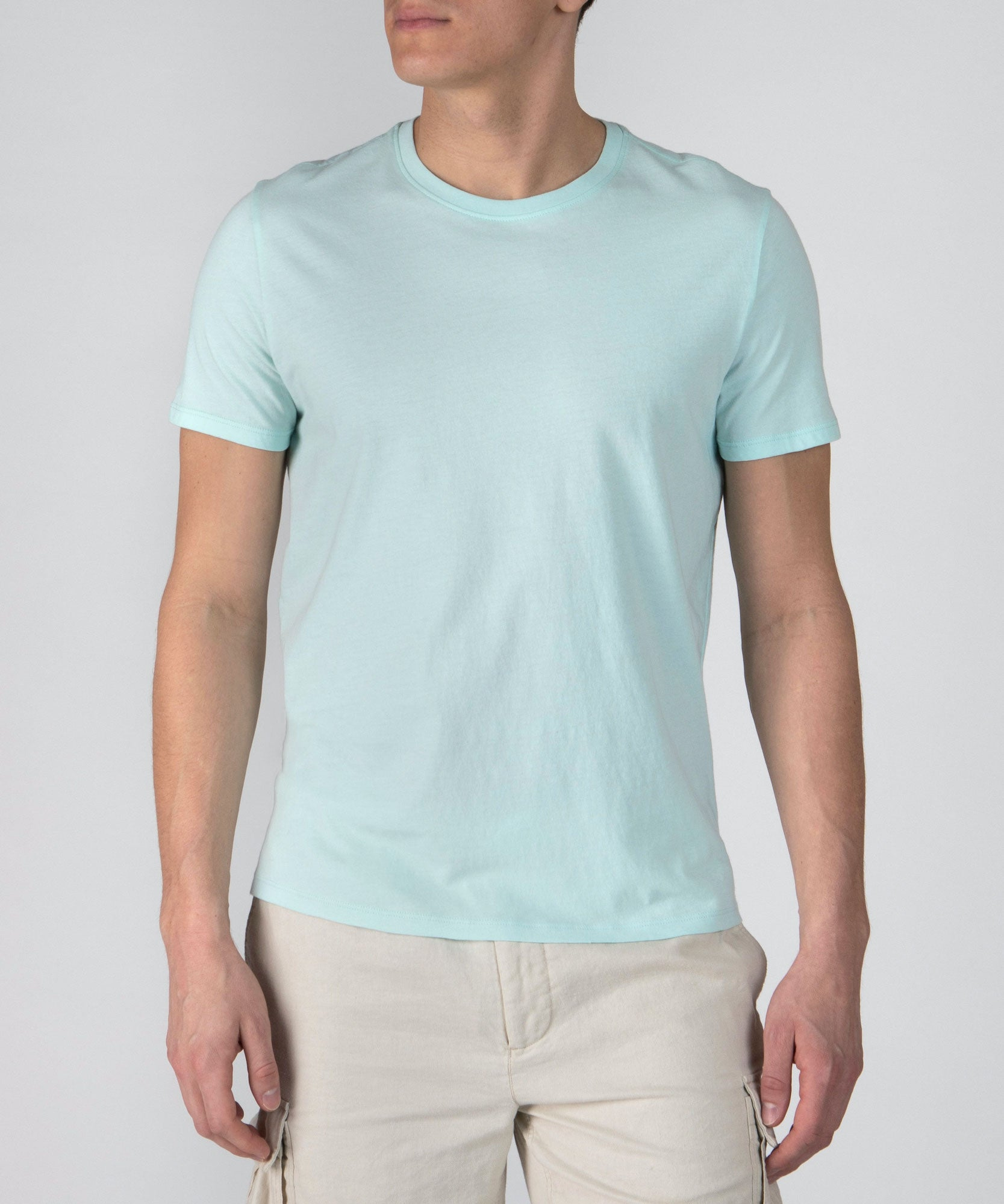 Bleached Aqua Classic Jersey Crew Neck Tee - Men's Cotton Short Sleeve T-shirt by ATM Anthony Thomas Melillo