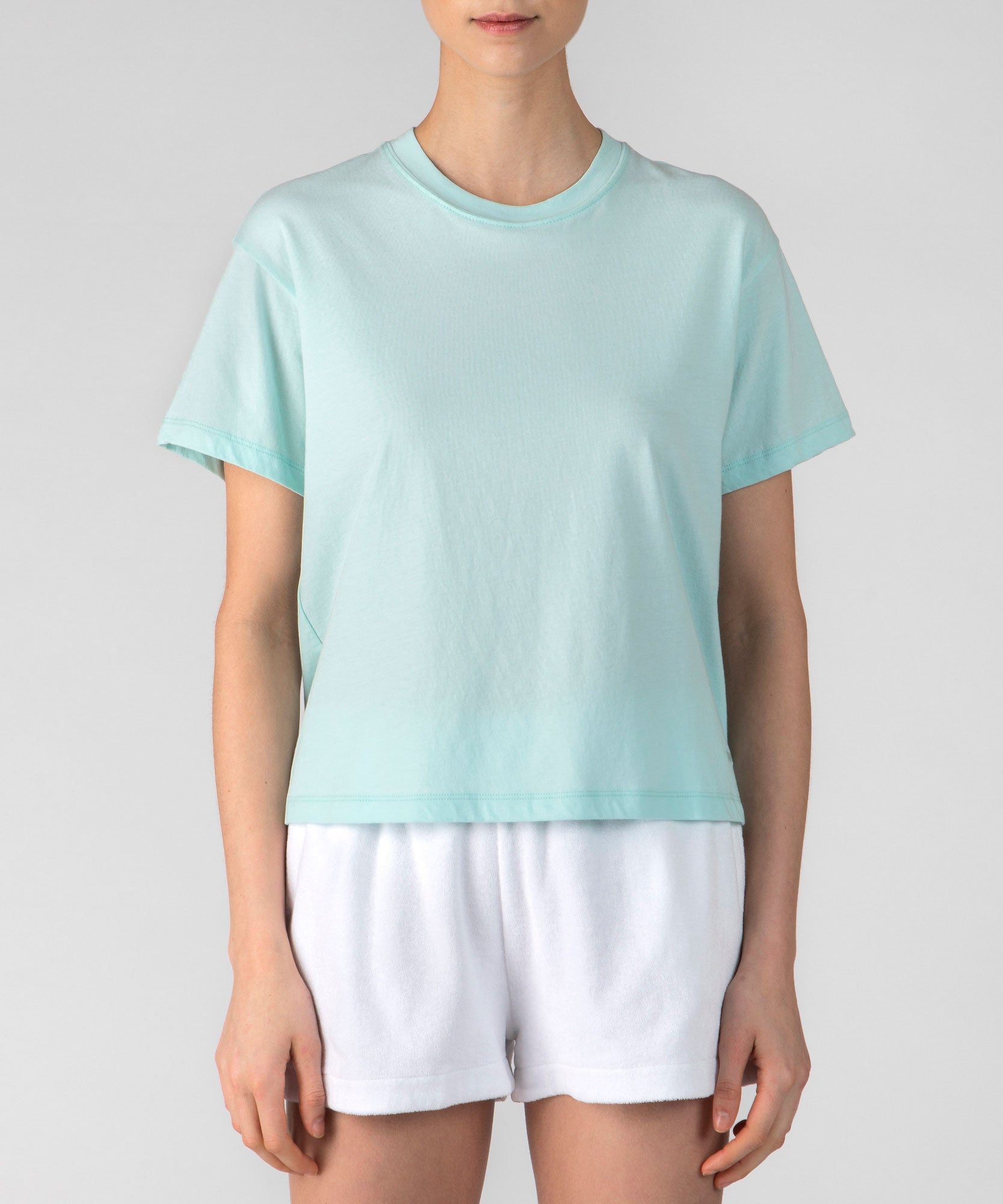 Bleached Aqua Classic Jersey Short Sleeve Boy Tee - Women's Cotton Short Sleeve T-shirt by ATM Anthony Thomas Melillo