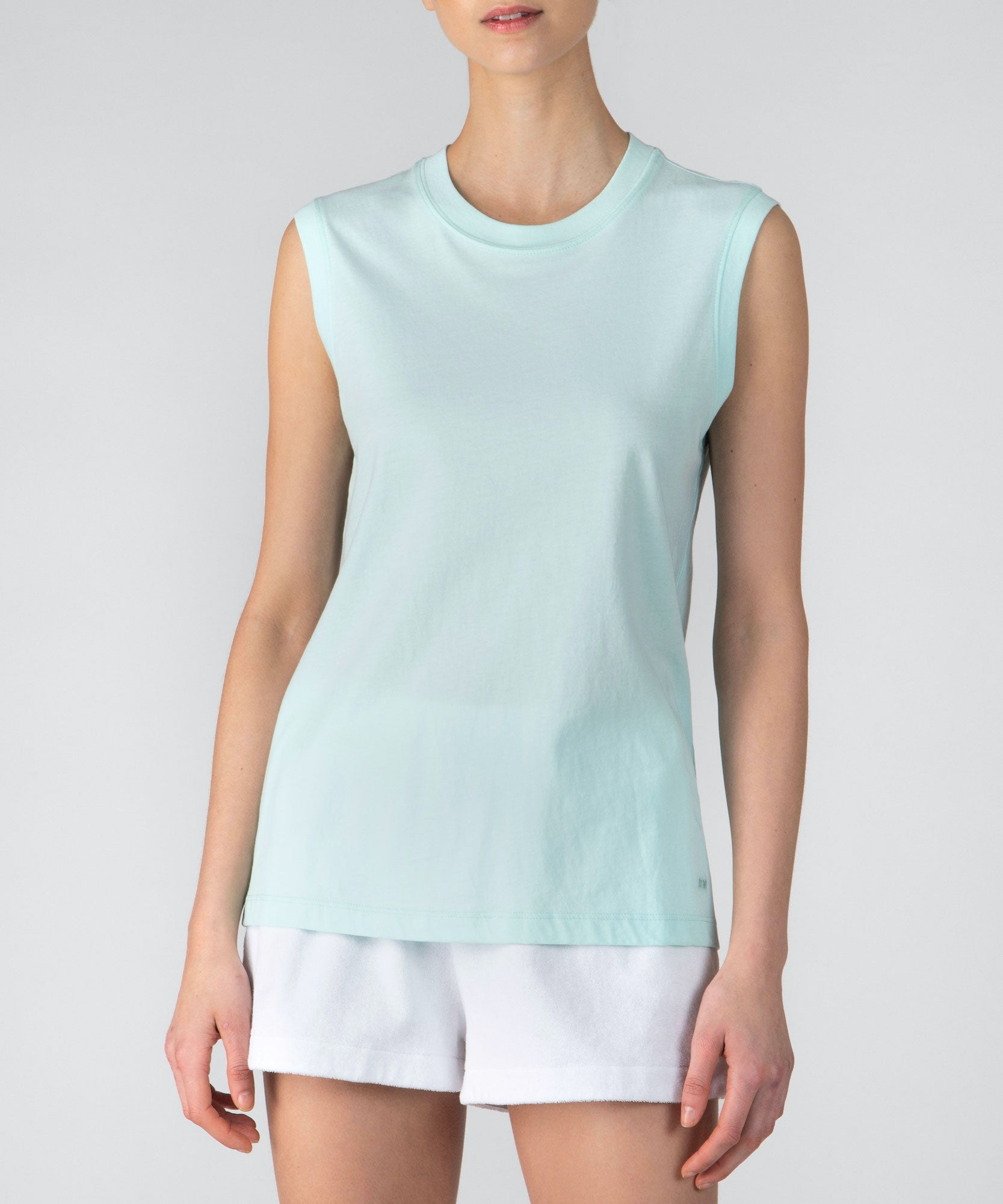 Bleached Aqua Classic Jersey Sleeveless Boy Tee - Women's Cotton Sleeveless T-shirt by ATM Anthony Thomas Melillo