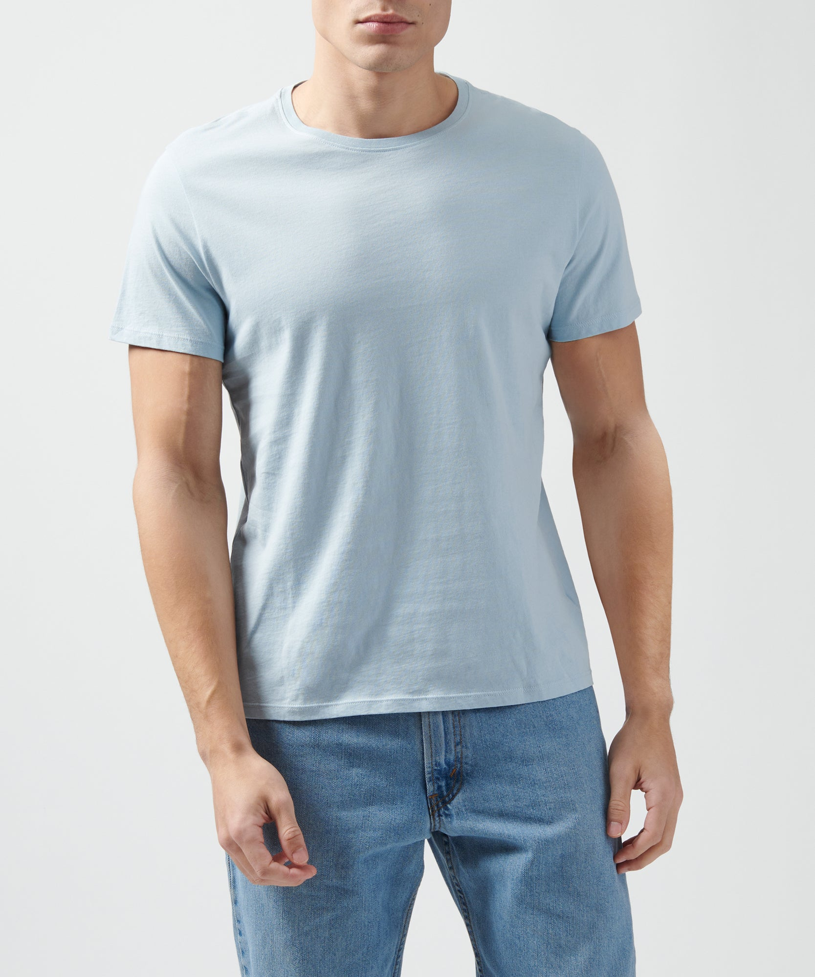 Blue Classic Jersey Crew Neck Tee - Men's Cotton Short Sleeve T-shirt by ATM Anthony Thomas Melillo