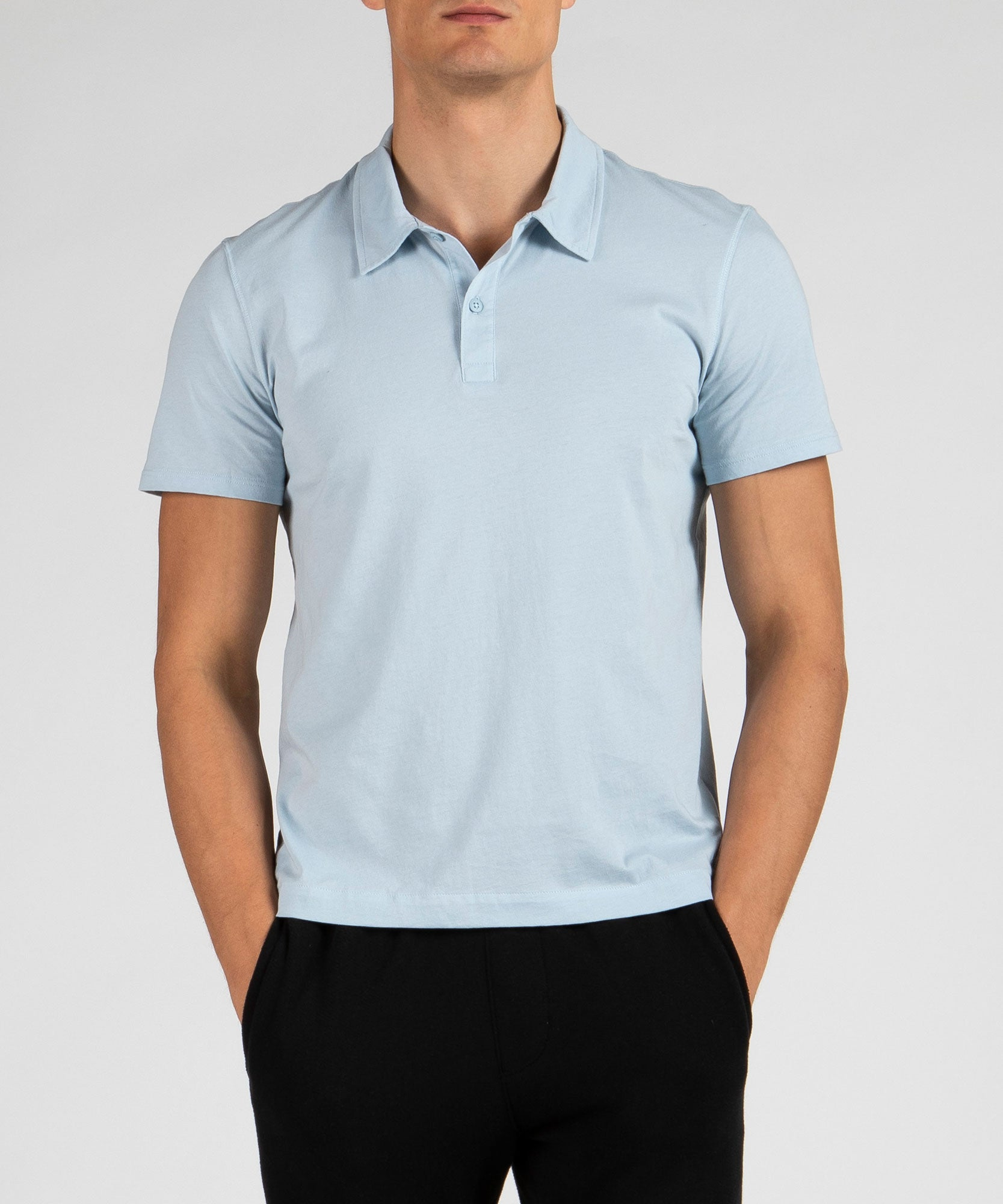 Blue Classic Jersey Short Sleeve Polo - Men's Polo Shirt by ATM Anthony Thomas Melillo
