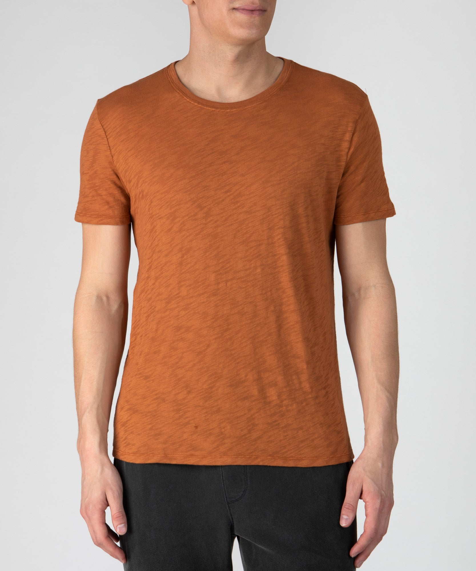 Bright Rust Slub Jersey Crew Neck Tee - Men's Cotton Short Sleeve T-shirt by ATM Anthony Thomas Melillo