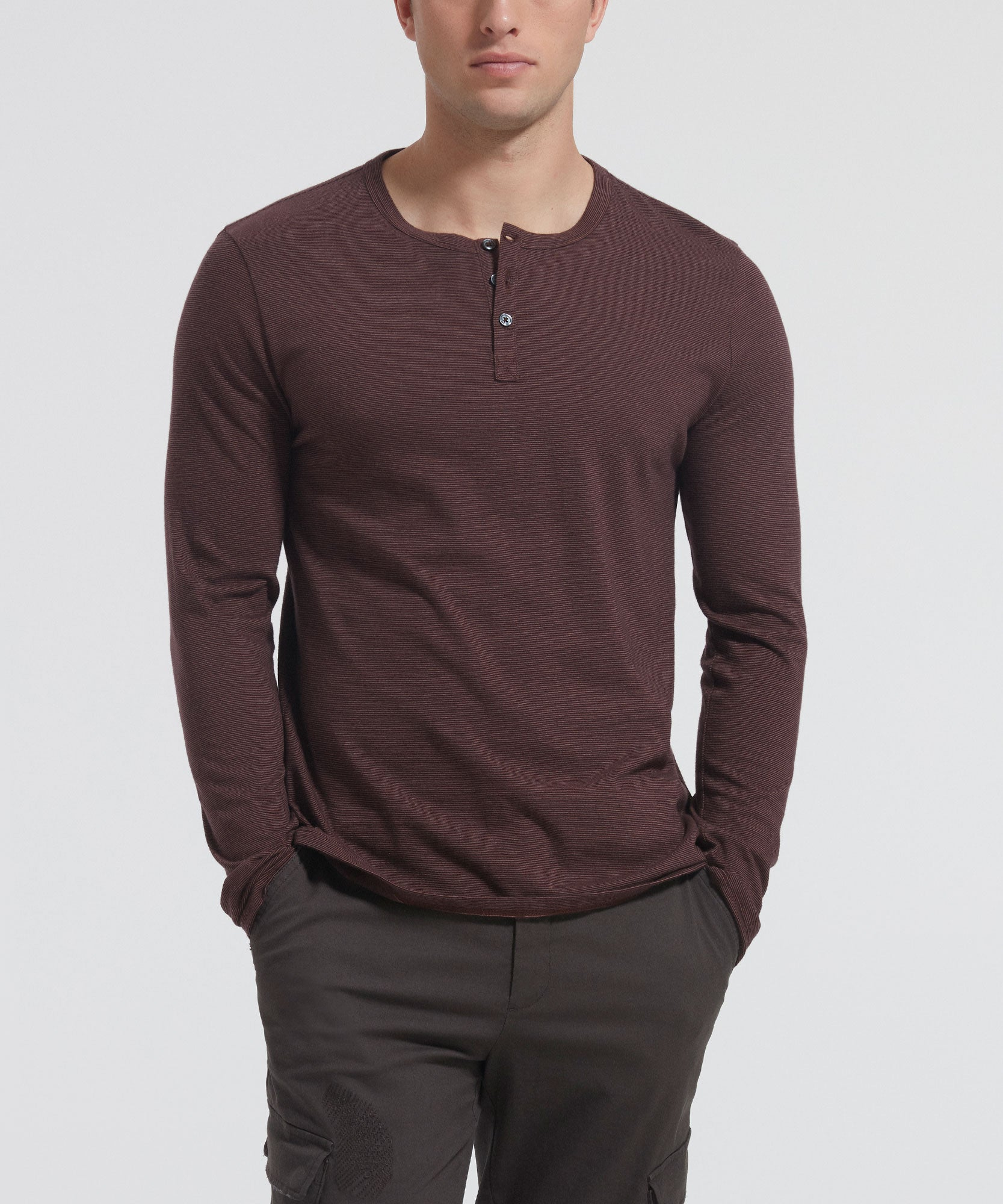 Burgundy Striped Jersey Long Sleeve Henley - Men's Luxe Henley by ATM Anthony Thomas Melillo