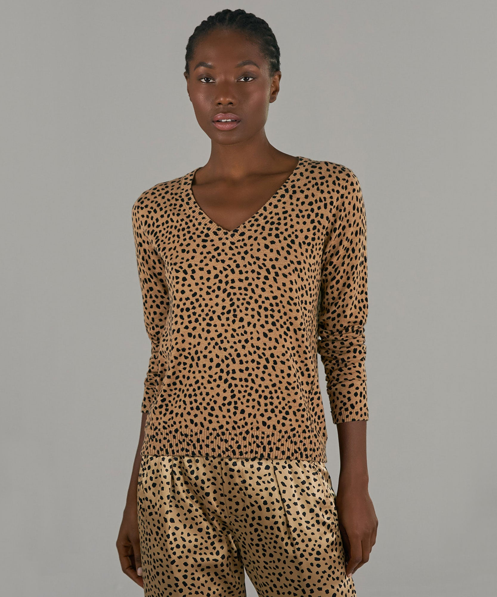 Camel and Black Cheetah Print Cotton Cashmere V-Neck Sweater - Women's Luxe Sweater by ATM Anthony Thomas Melillo