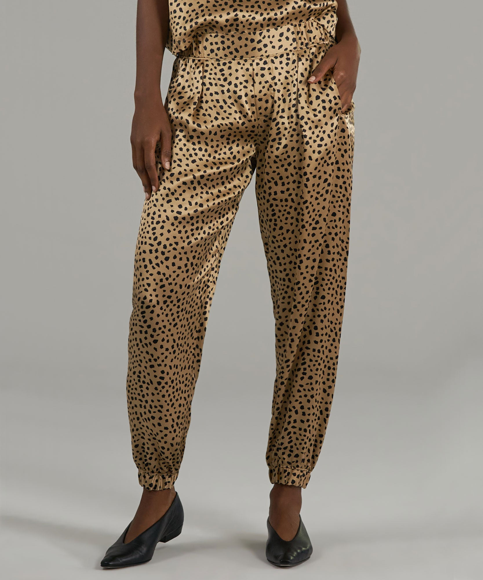 Camel and Black Cheetah Print Silk Pants - Women's Silk Pants by ATM Anthony Thomas Melillo