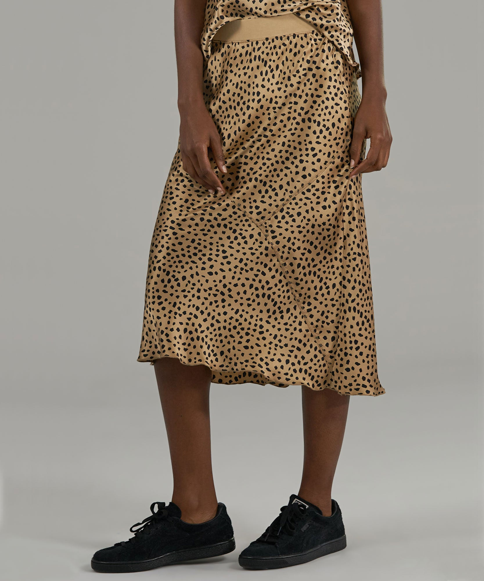 Camel/ Black Cheetah Silk Pull-On Skirt - Women's Skirt by ATM Anthony Thomas Melillo