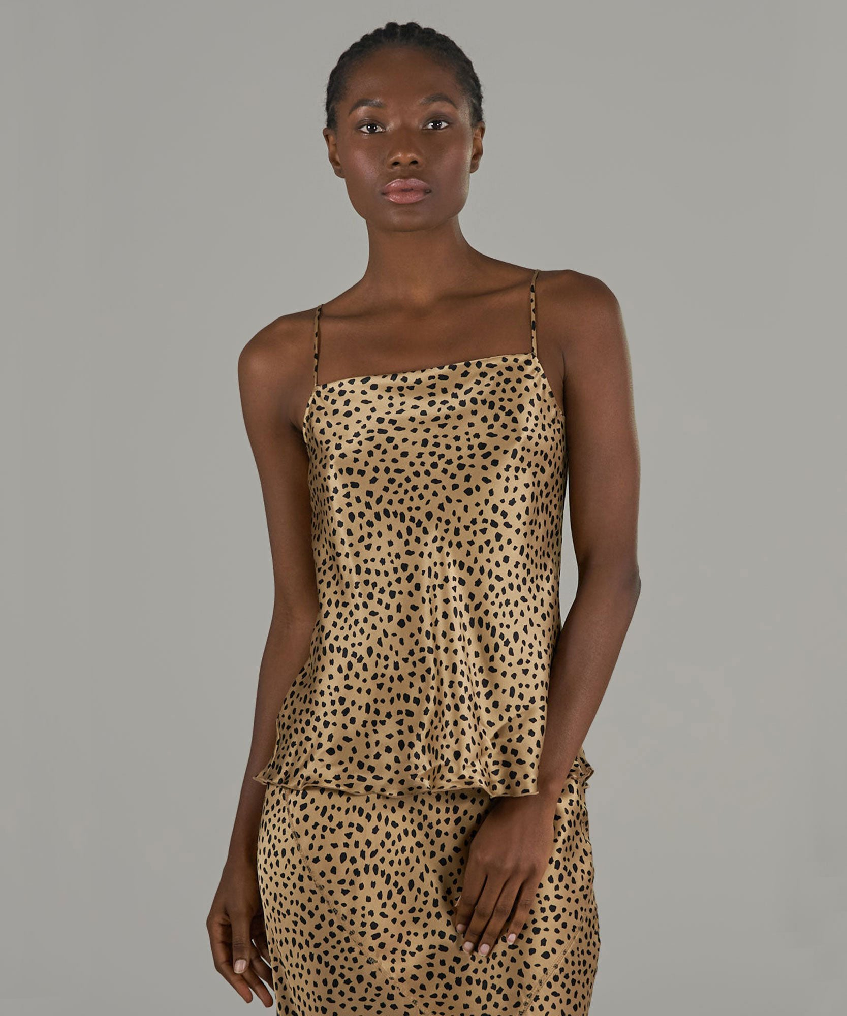 Camel and Black Cheetah Print Silk Charmeuse Cami - Women's Silk Top by ATM Anthony Thomas Melillo
