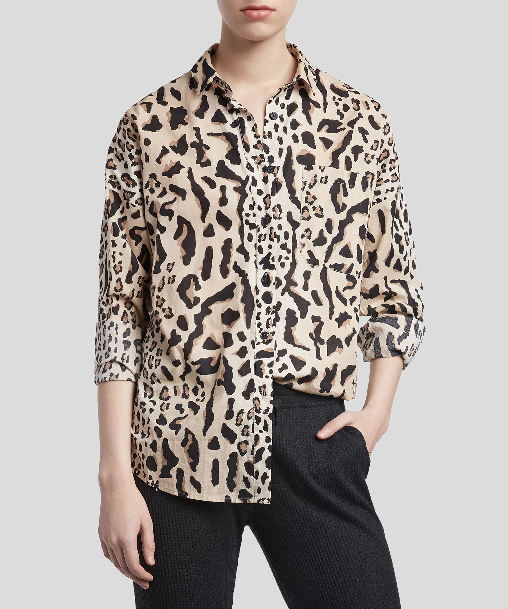 Camel and Black Combo Mixed Leopard Print Boyfriend Shirt - Women's Button Down Shirt by ATM Anthony Thomas Melillo