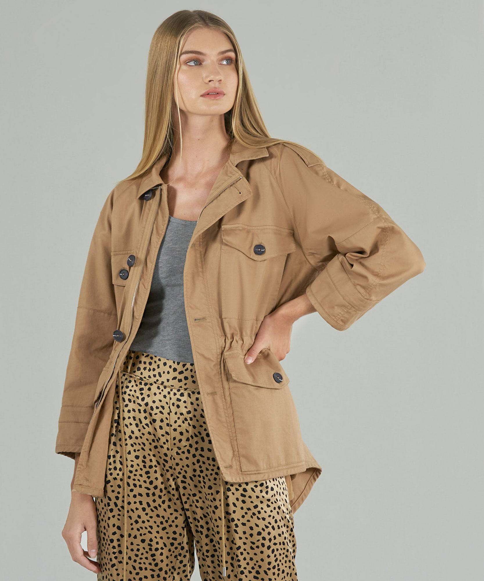 Camel Cotton Twill Army Jacket - Women's Jacket by ATM Anthony Thomas Melillo