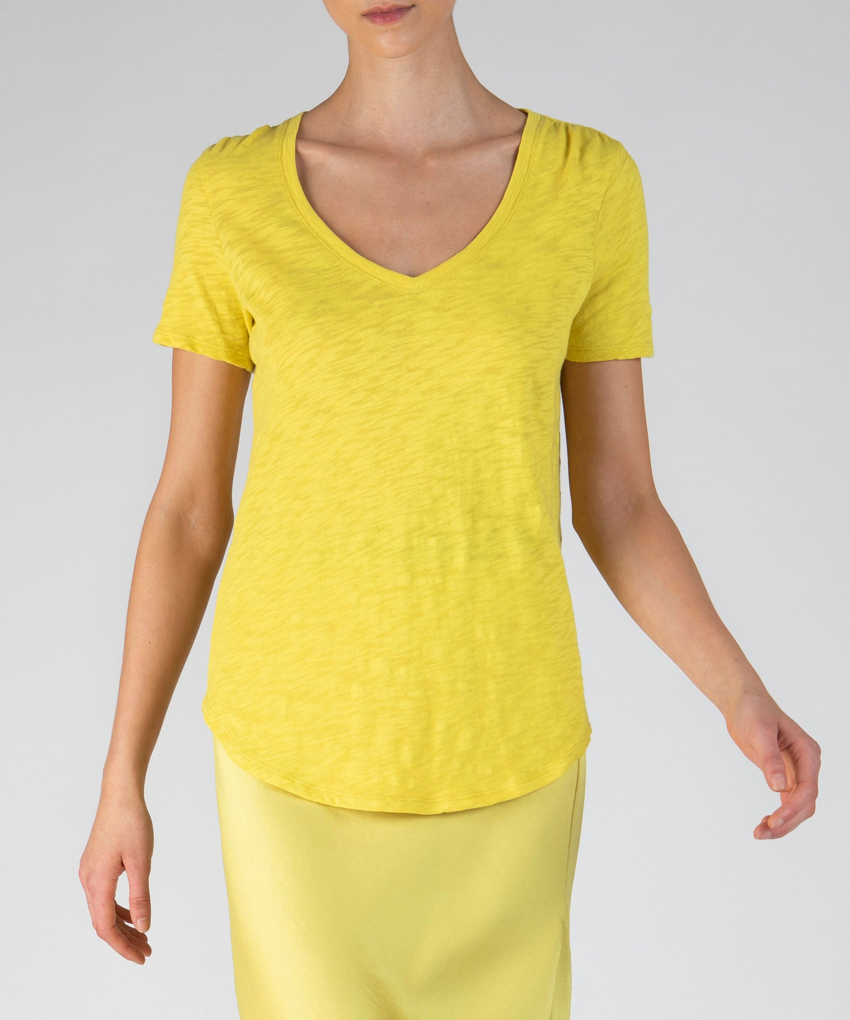 Canary Slub Jersey Classic V-Neck Tee - Women's Cotton Short Sleeve Tee by ATM Anthony Thomas Melillo
