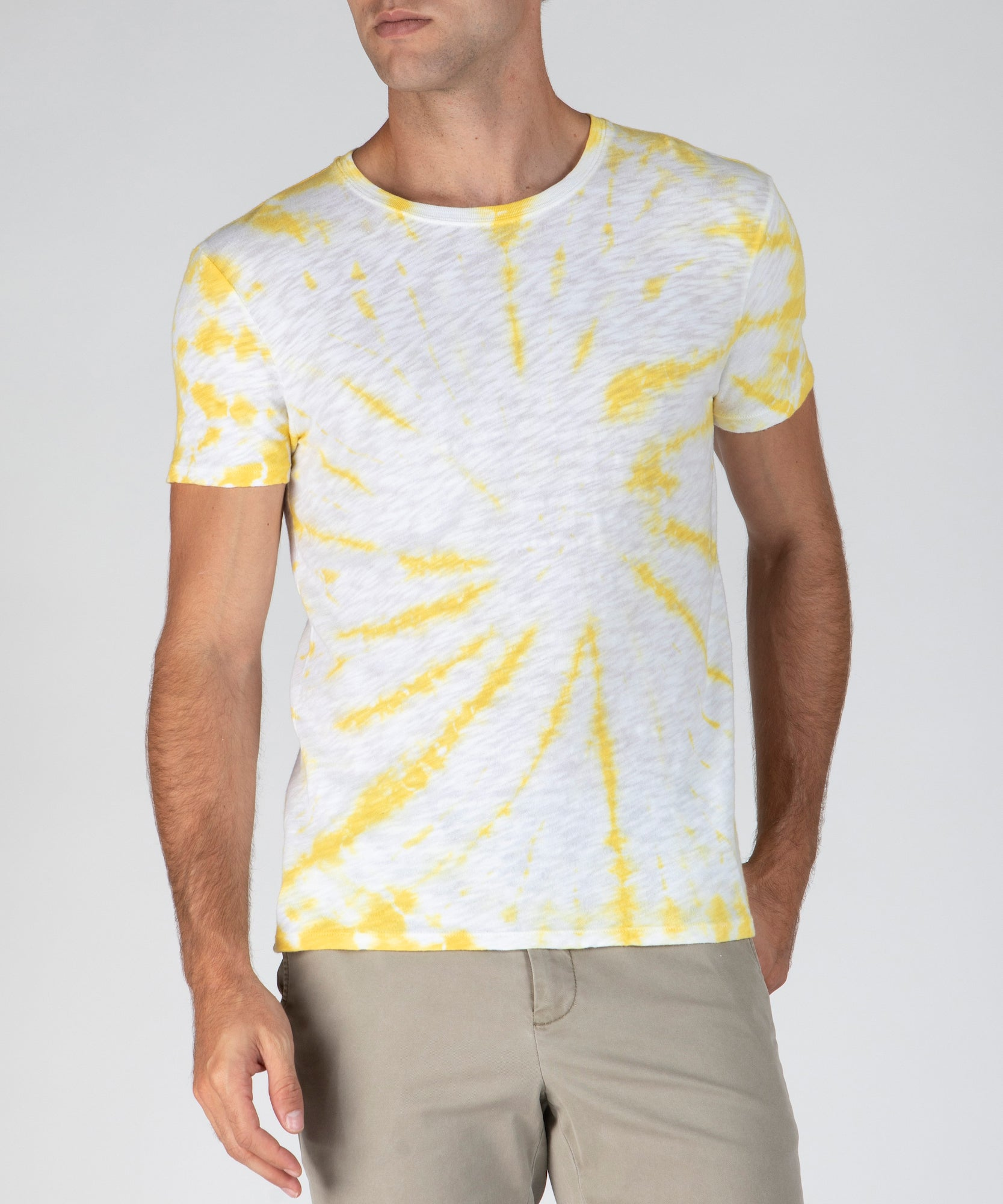 Canary Tie Dye Slub Jersey Crew Neck Tee - Men's Cotton Short Sleeve Tee by ATM Anthony Thomas Melillo