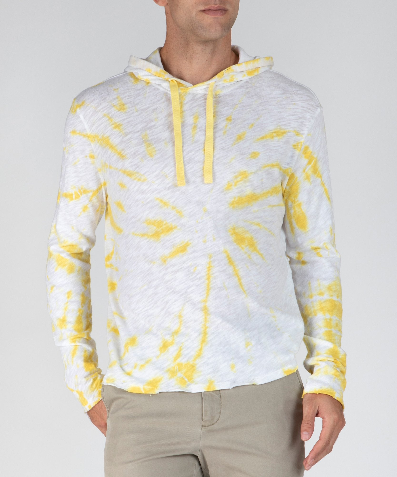 Canary Tie Dye Slub Jersey Hoodie - Men's Cotton Long Sleeve Pullover by ATM Anthony Thomas Melillo